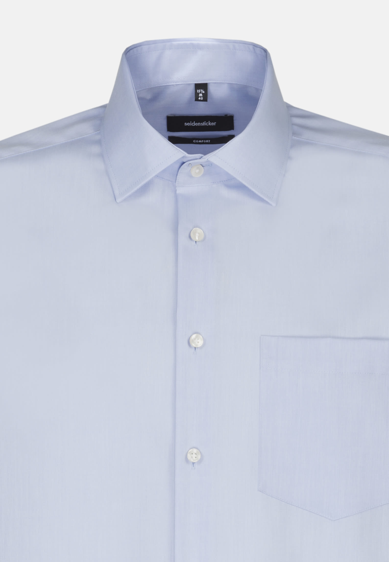 Bügelfreies Chambray Business Hemd in Comfort mit Kentkragen und extra langem Arm in Mittelblau |  Seidensticker Onlineshop