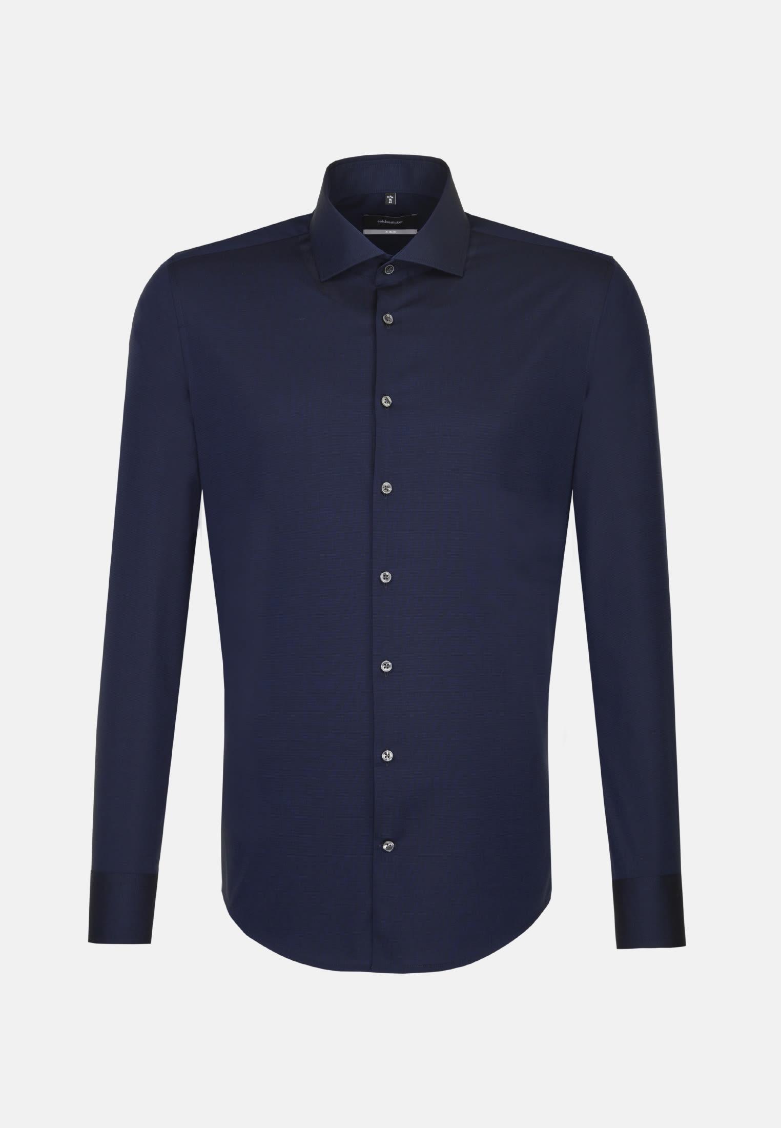 Bügelfreies Fil a fil Business Hemd in X-Slim mit Kentkragen in Dunkelblau |  Seidensticker Onlineshop