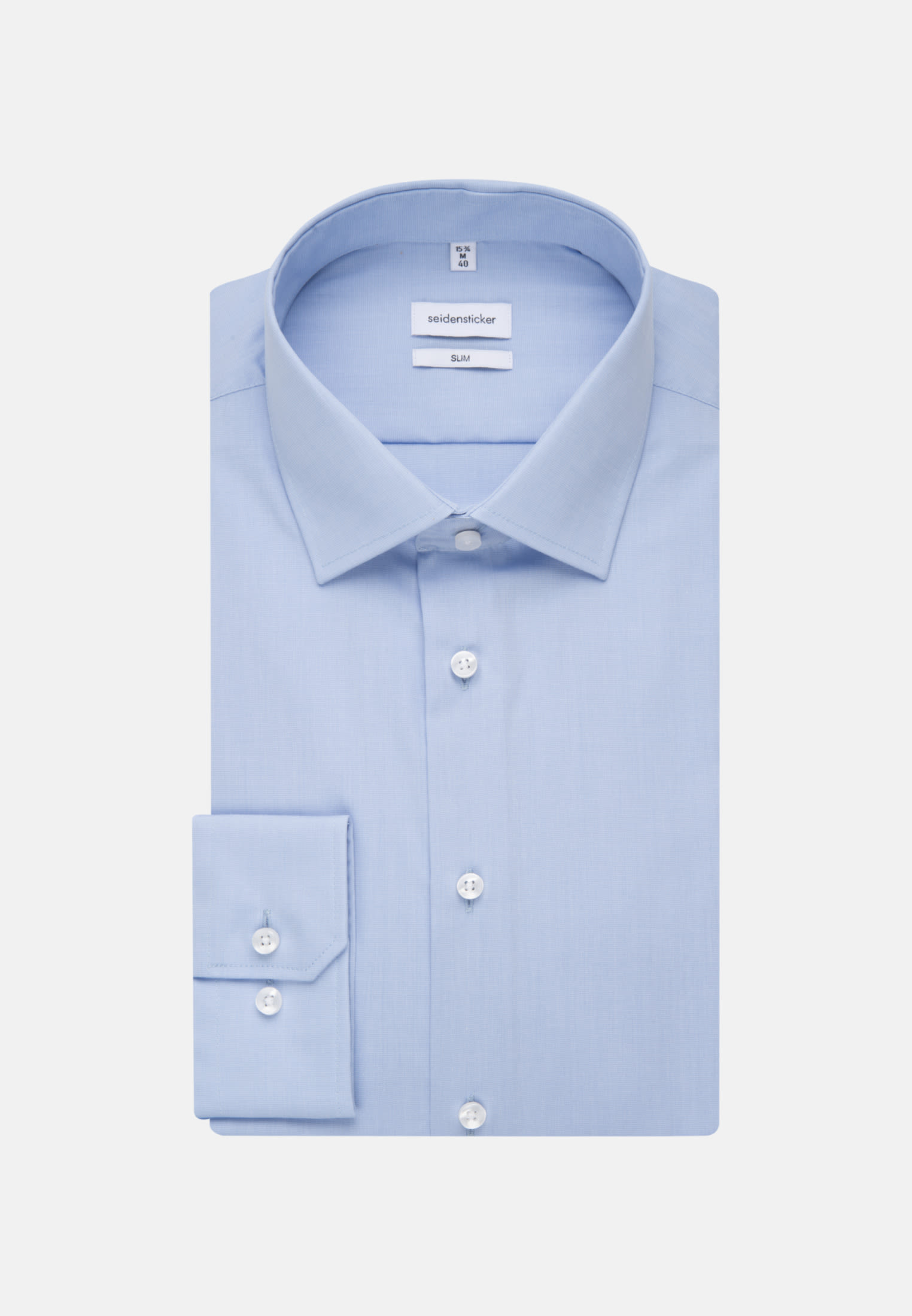 Non-iron Fil a fil Business Shirt in Slim with Kent-Collar and extra short sleeve in Light blue    Seidensticker Onlineshop