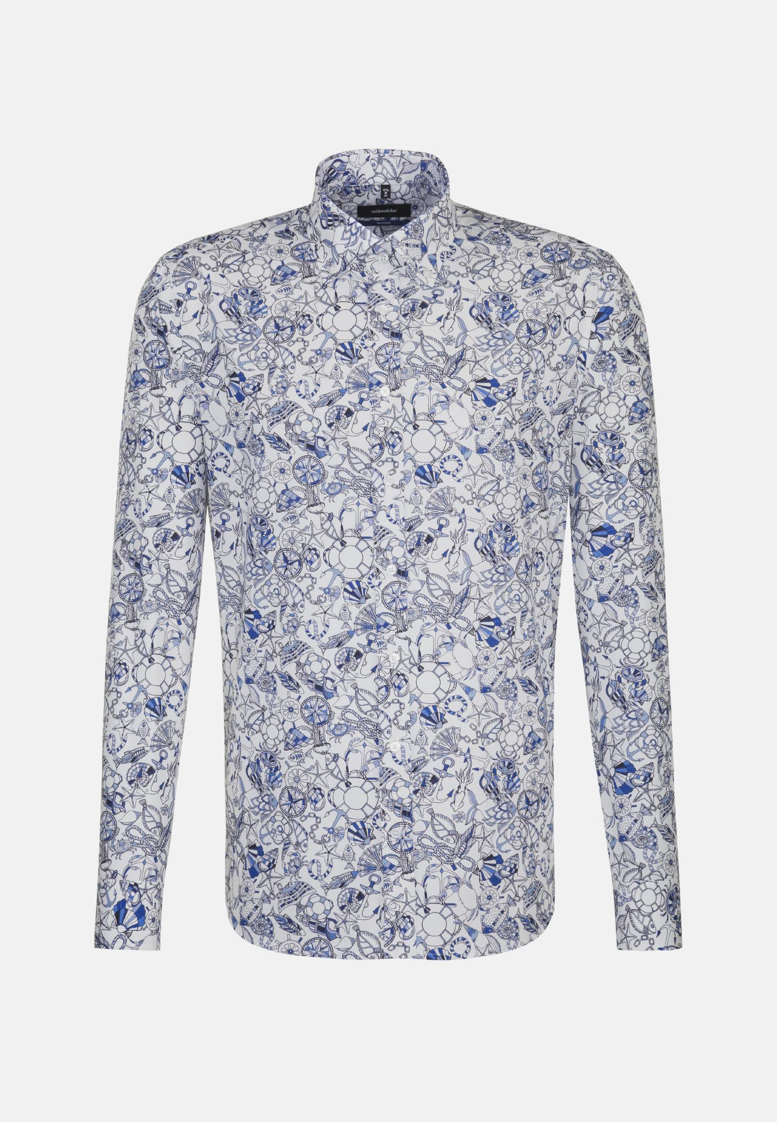 Bügelleichtes Popeline Business Hemd in Shaped mit Button-Down-Kragen in Hellblau |  Seidensticker Onlineshop