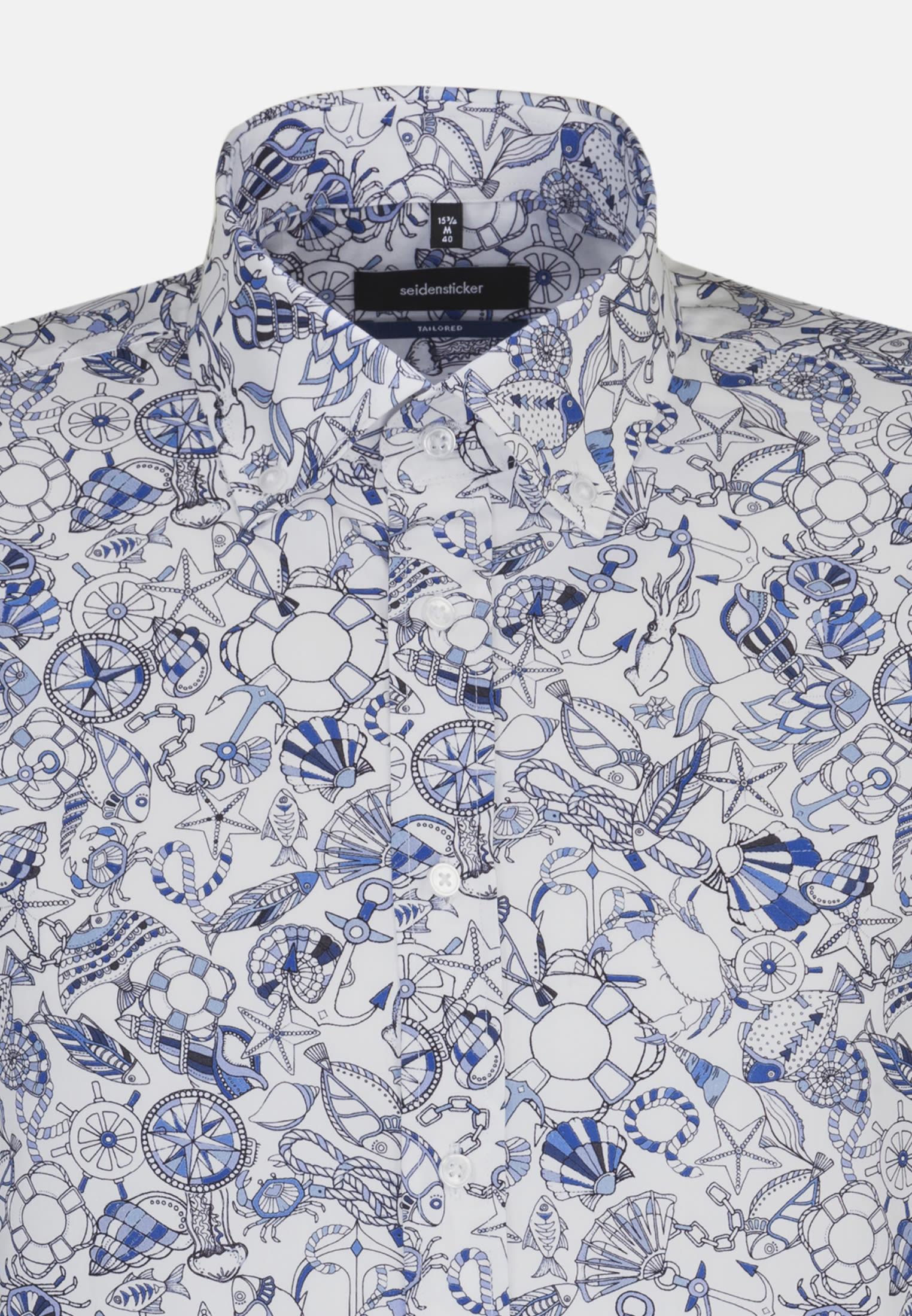 Easy-iron Poplin Business Shirt in Shaped with Button-Down-Collar in Light blue |  Seidensticker Onlineshop