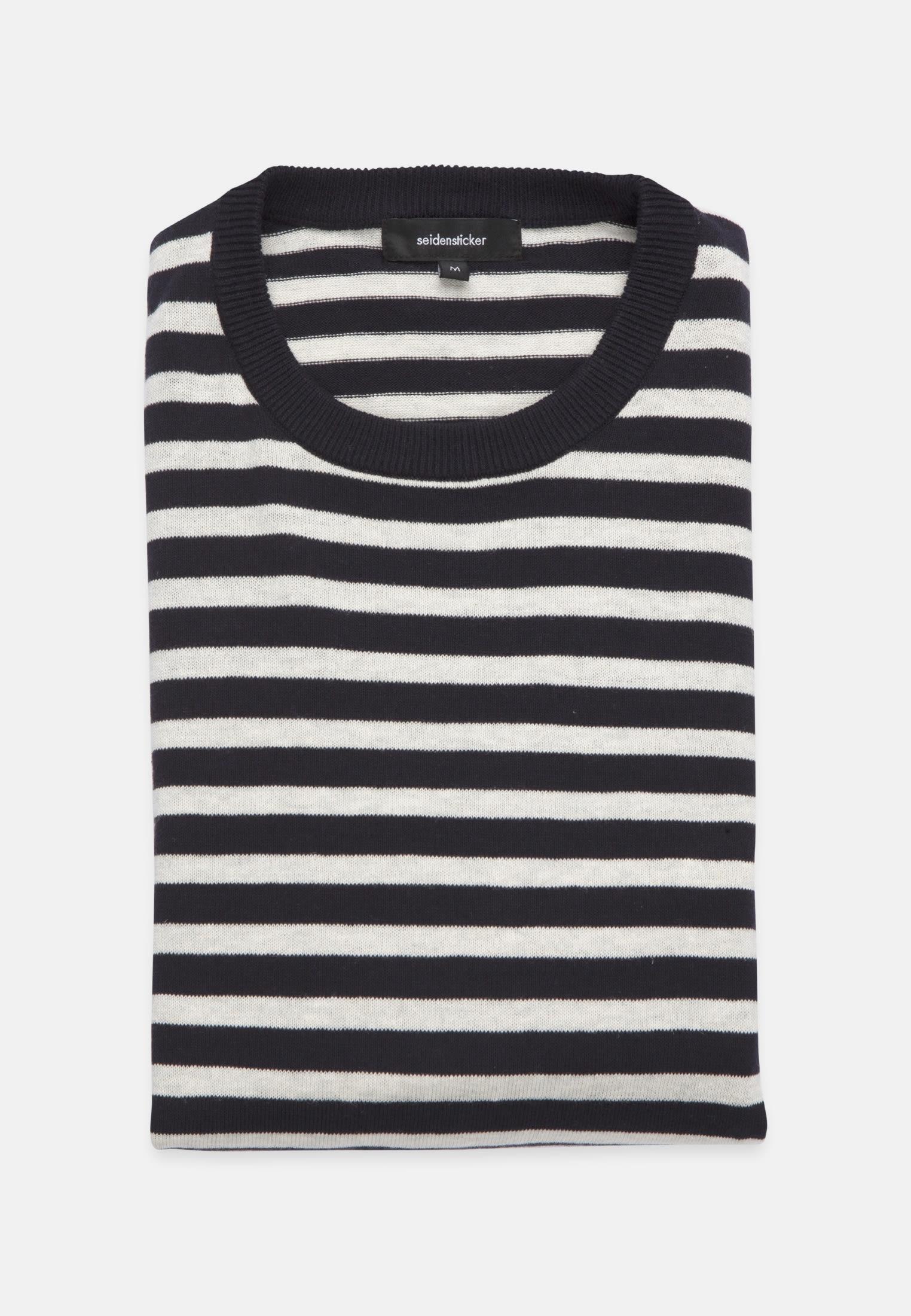 Rundhals Pullover aus 70% Baumwolle 30% Leinen/Flachs in Mittelblau |  Seidensticker Onlineshop