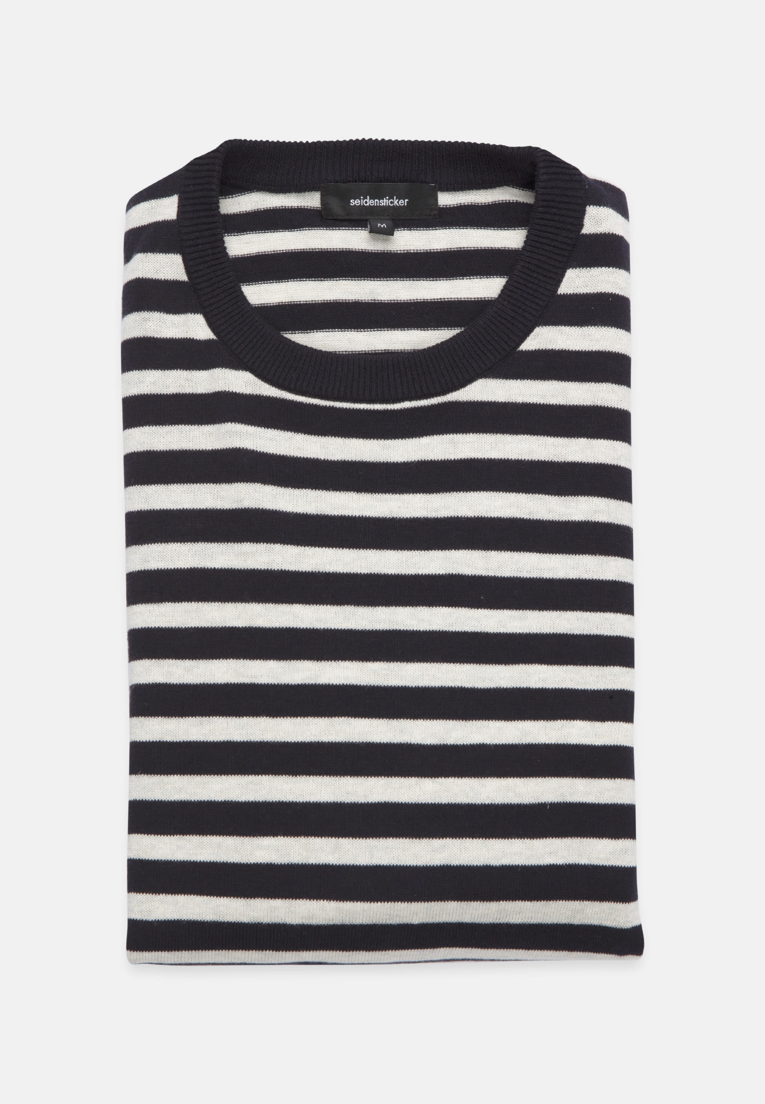 Crew Neck Pullover made of linen blend in Medium blue |  Seidensticker Onlineshop