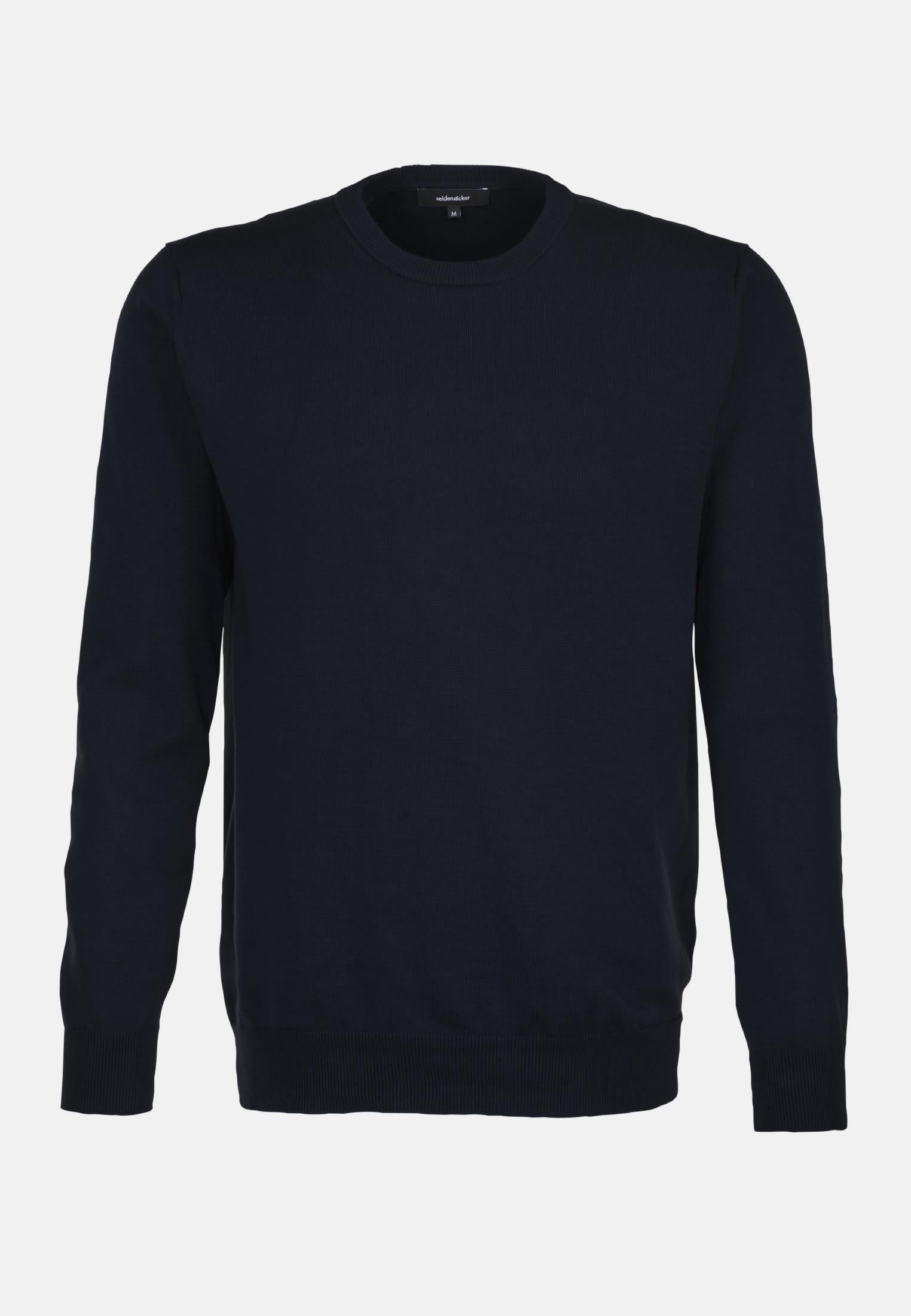 Rundhals Pullover aus Leinenmischung in Dunkelblau |  Seidensticker Onlineshop