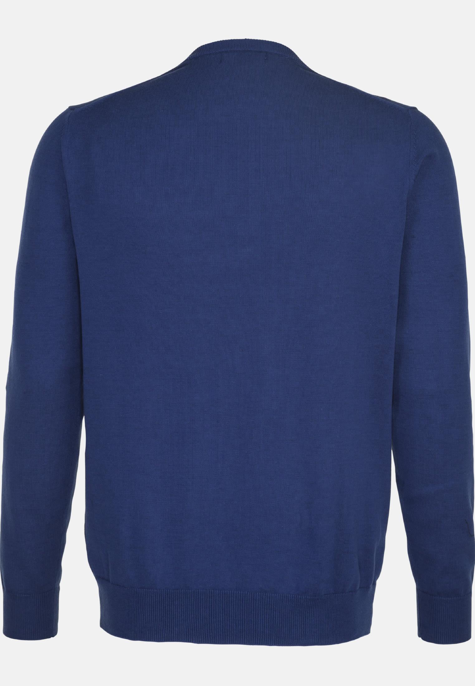Rundhals Pullover aus 100% Baumwolle in Mittelblau |  Seidensticker Onlineshop