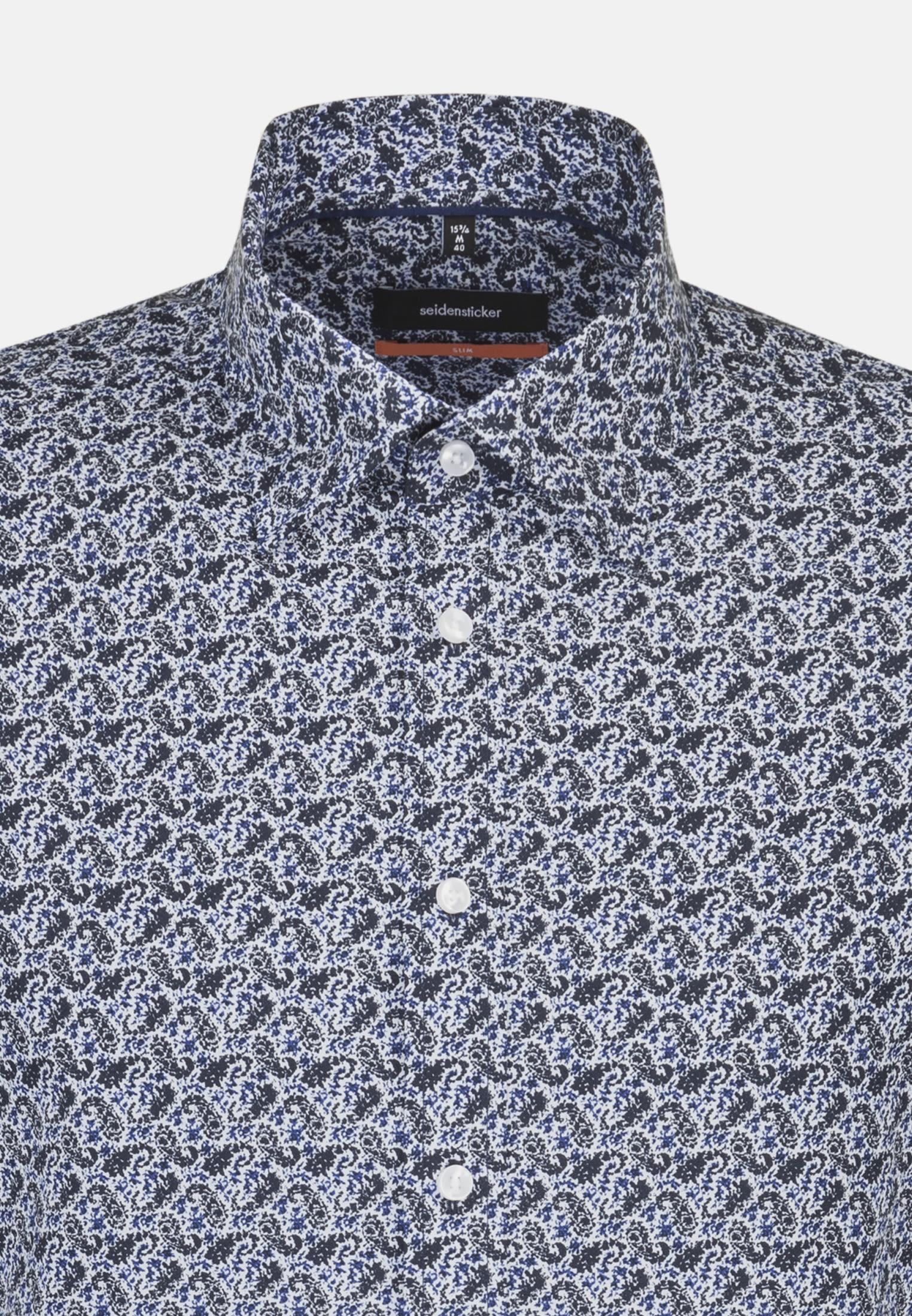 Easy-iron Poplin Business Shirt in Slim with Covered-Button-Down-Collar in Dark blue    Seidensticker Onlineshop