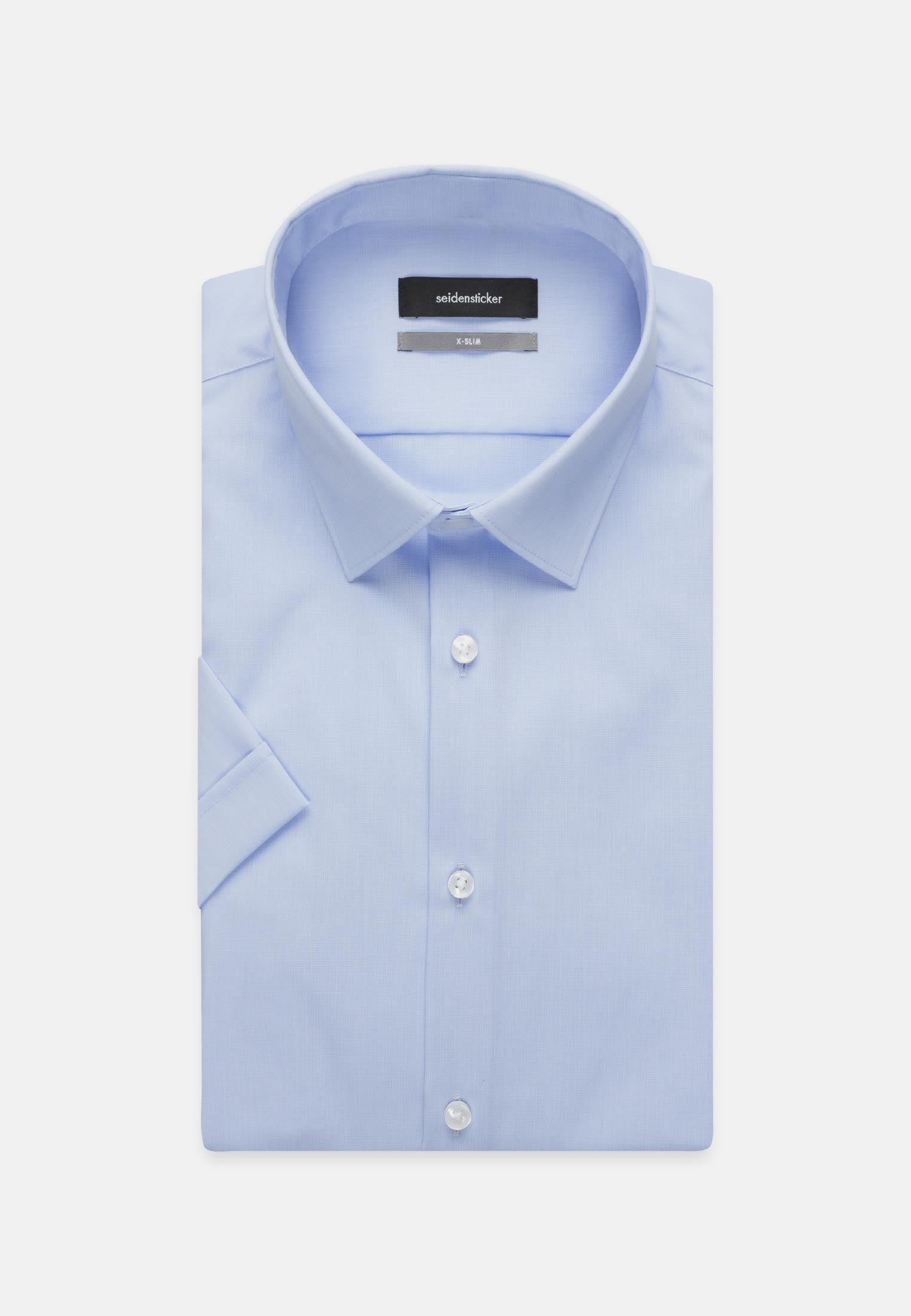 Non-iron Poplin Short sleeve Business Shirt in X-Slim with Kent-Collar in Light blue |  Seidensticker Onlineshop