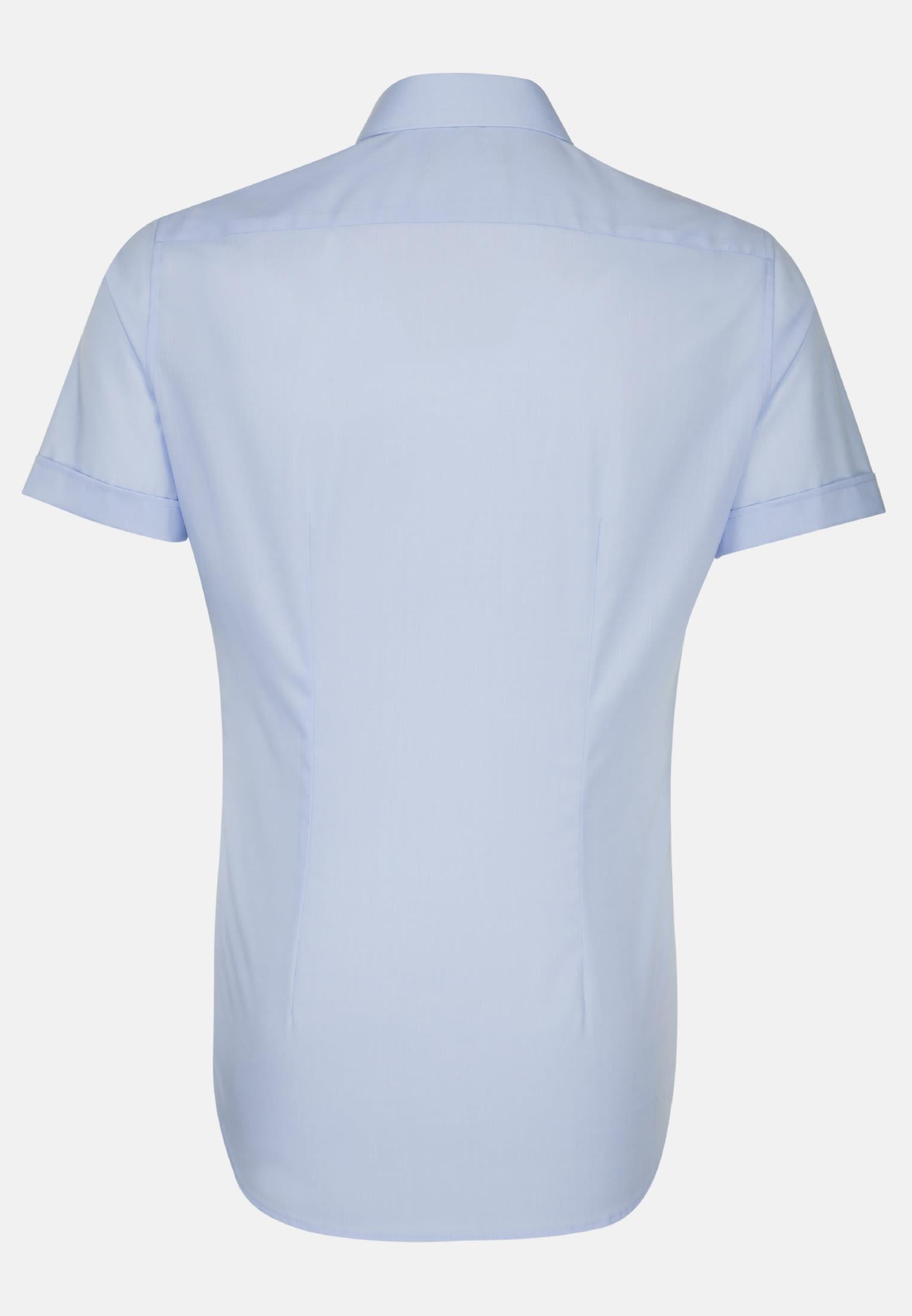 Bügelfreies Popeline Kurzarm Business Hemd in X-Slim mit Kentkragen in Hellblau |  Seidensticker Onlineshop