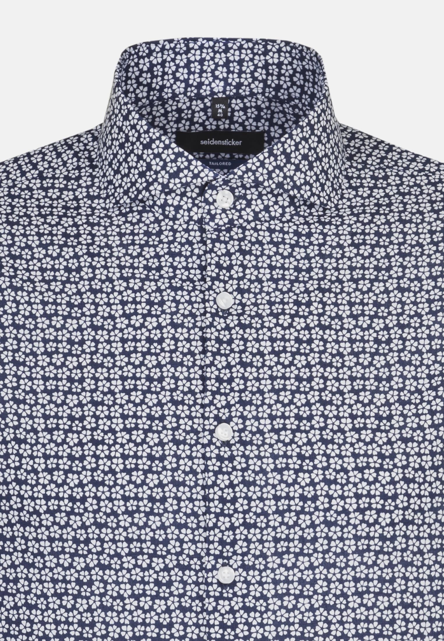 Easy-iron Poplin Business Shirt in Shaped with Shark Collar in Medium blue |  Seidensticker Onlineshop