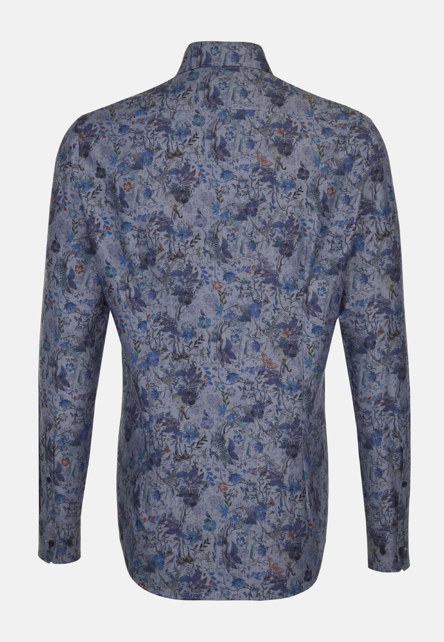 Easy-iron Poplin Business Shirt in Regular with Covered-Button-Down-Collar in Dark blue |  Seidensticker Onlineshop