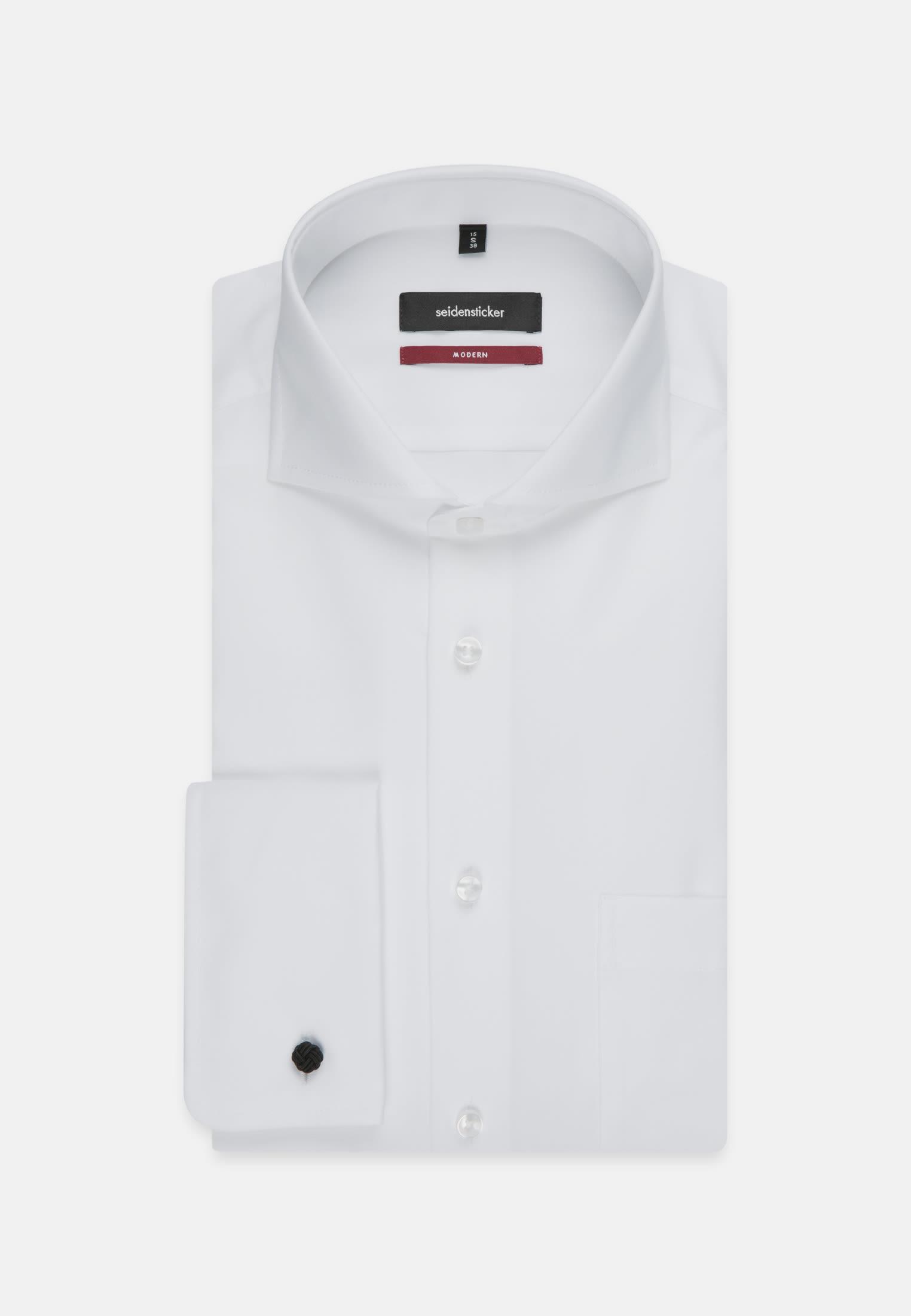 Non-iron Poplin Business Shirt in Regular with Shark Collar in White |  Seidensticker Onlineshop