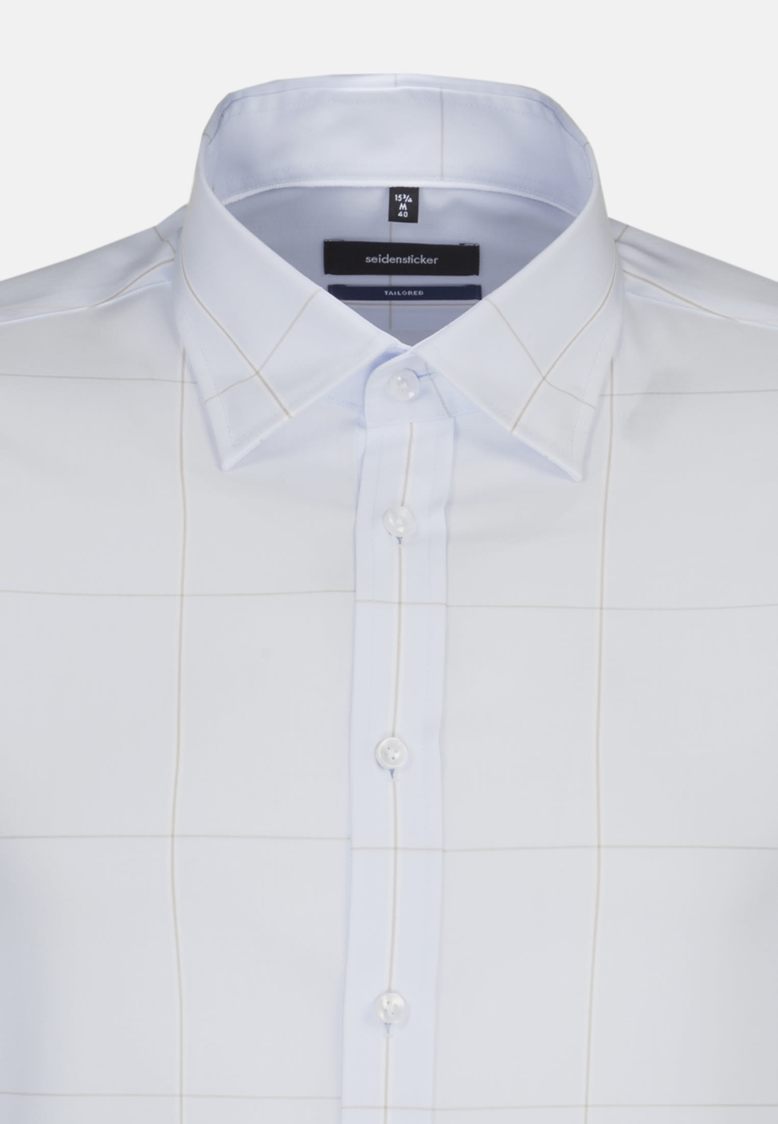 Non-iron Poplin Business Shirt in Shaped with Covered-Button-Down-Collar in Light blue |  Seidensticker Onlineshop
