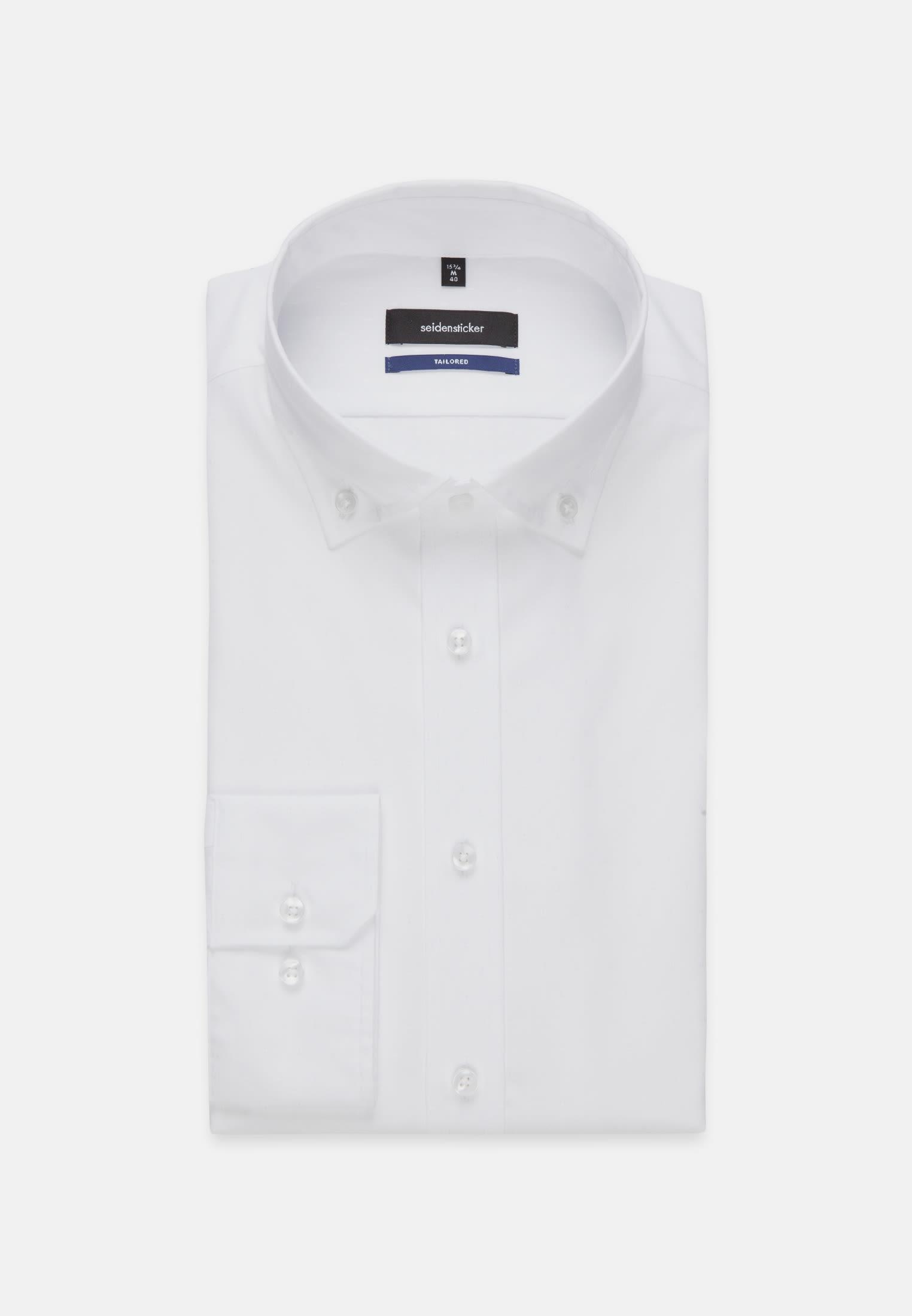Bügelleichtes Oxford Business Hemd in Shaped mit Button-Down-Kragen in Weiß |  Seidensticker Onlineshop
