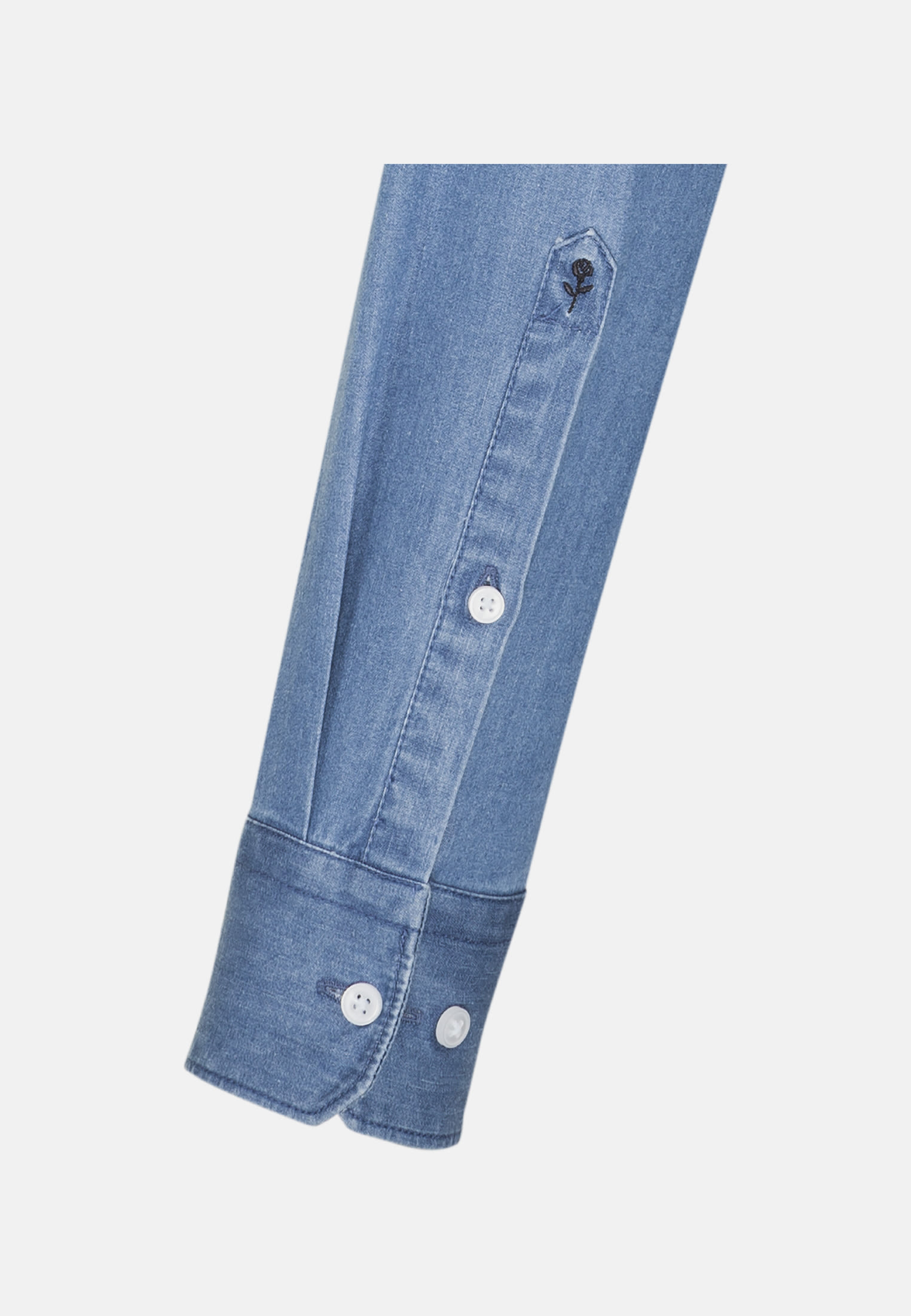 Bügelleichtes Denim Business Hemd in Shaped mit Kentkragen in Mittelblau |  Seidensticker Onlineshop
