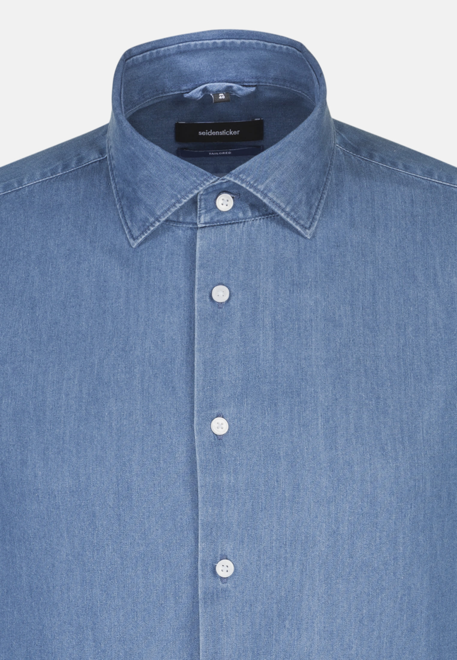 Easy-iron Denim Business Shirt in Shaped with Kent-Collar in Medium blue |  Seidensticker Onlineshop