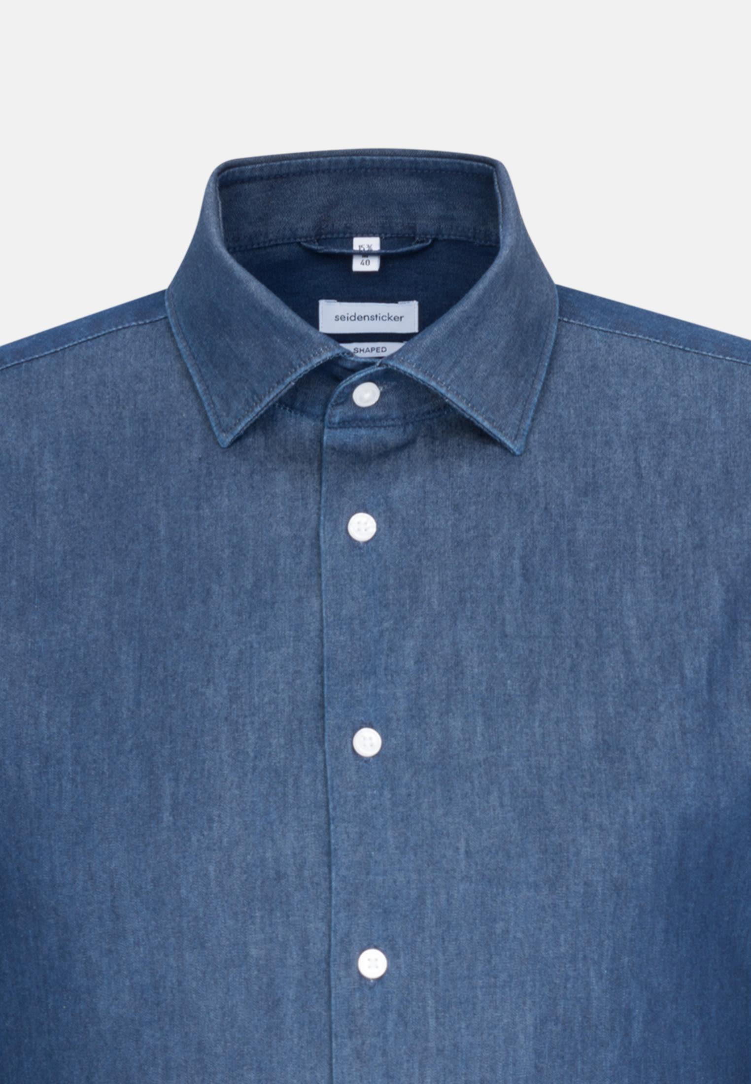 Bügelleichtes Denim Business Hemd in Shaped mit Kentkragen in Dunkelblau    Seidensticker Onlineshop