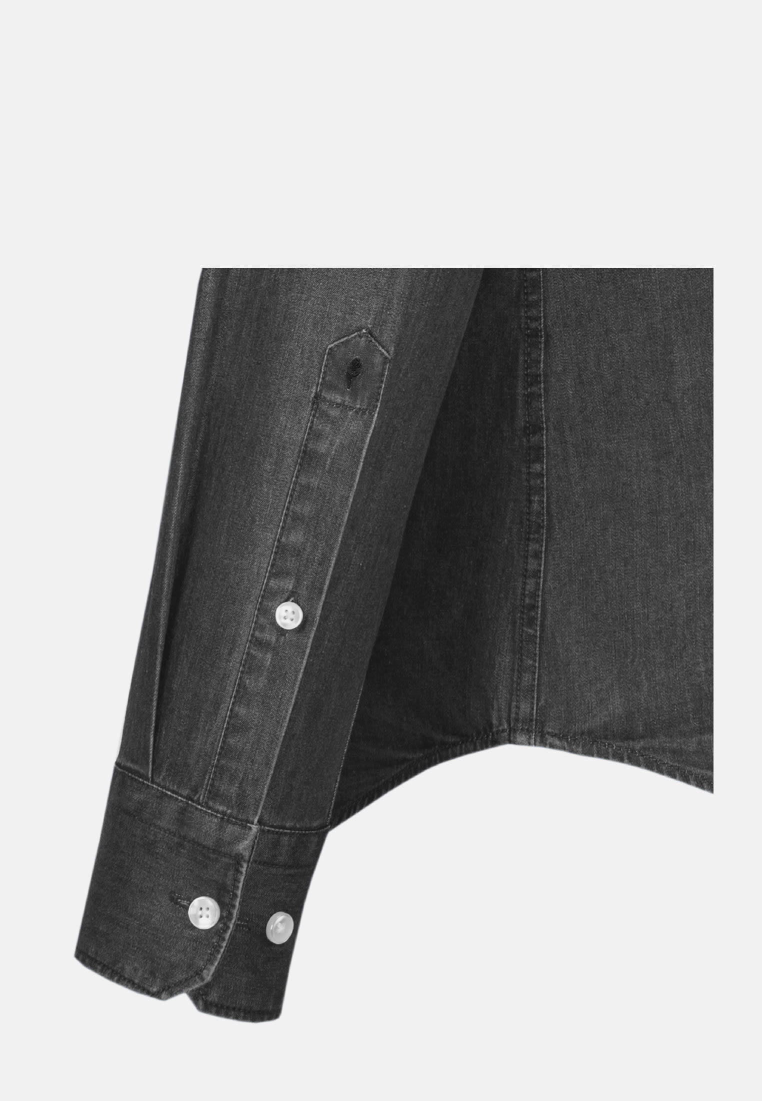 Bügelleichtes Denim Business Hemd in Shaped mit Kentkragen in Grau |  Seidensticker Onlineshop