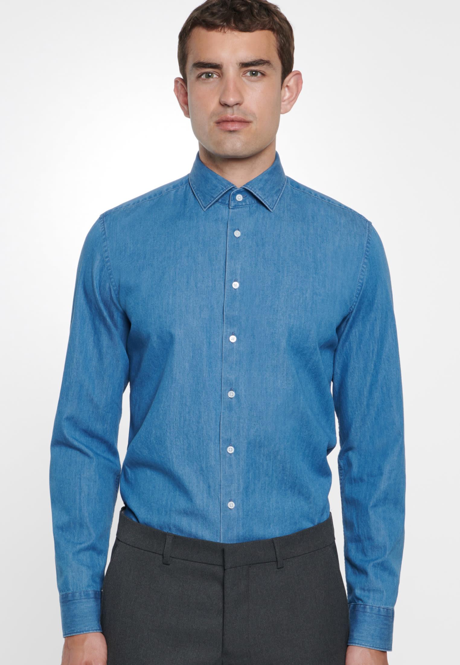 Easy-iron Denim Business Shirt in Slim with Kent-Collar in Medium blue |  Seidensticker Onlineshop