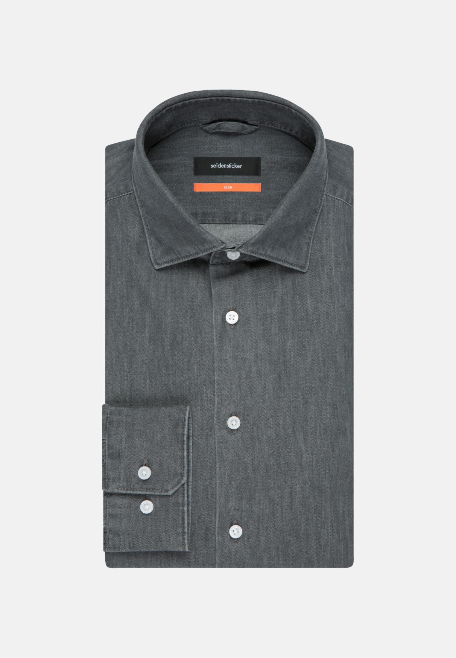 Bügelleichtes Denim Business Hemd in Slim mit Kentkragen in Grau |  Seidensticker Onlineshop