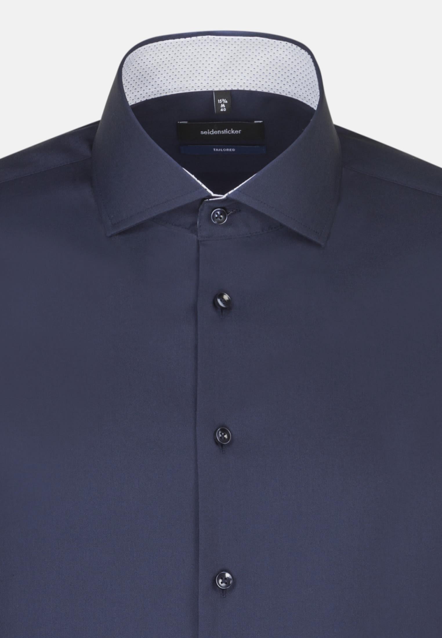 Non-iron Poplin Business Shirt in Shaped with Kent-Collar in Dark blue    Seidensticker Onlineshop