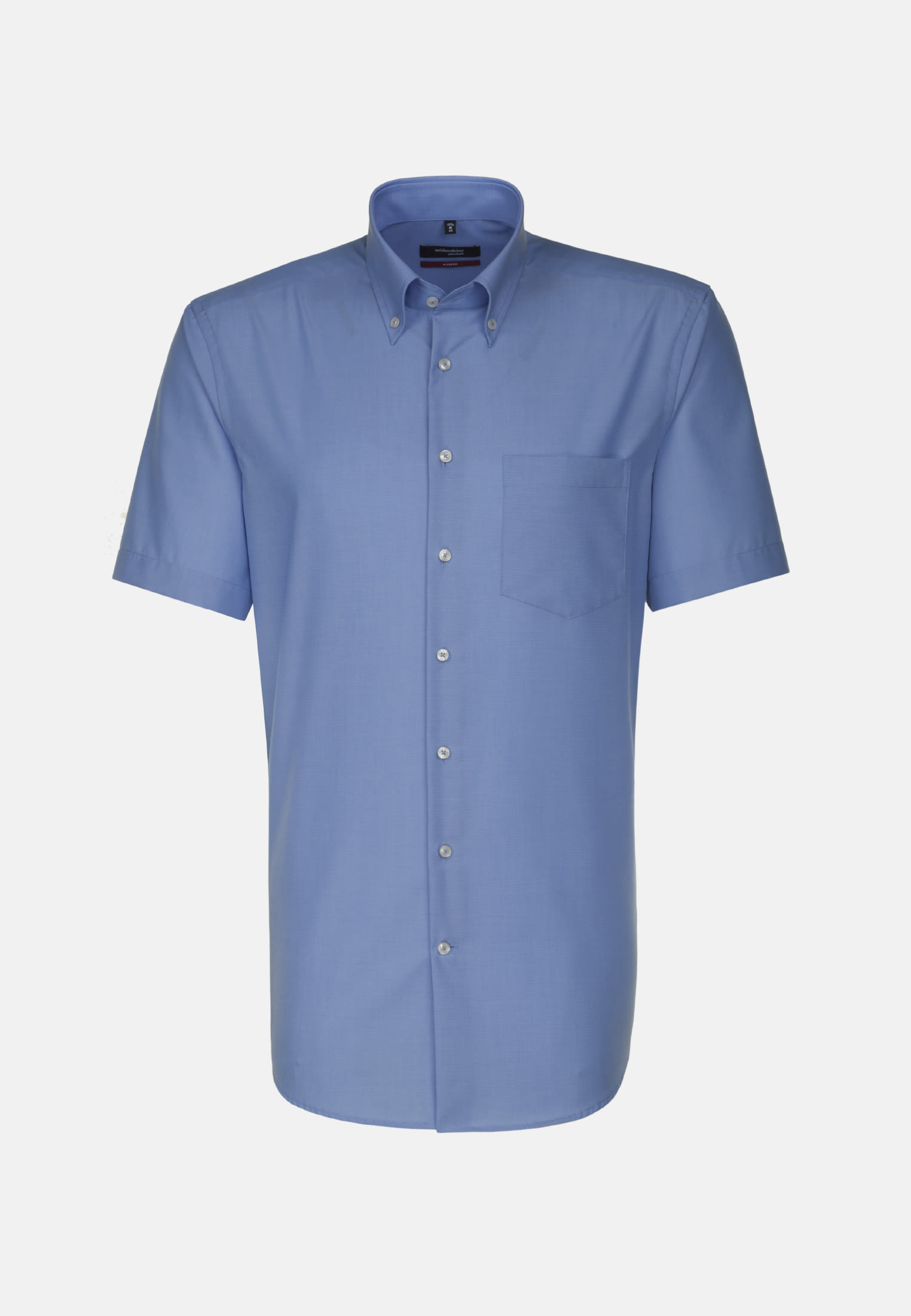 Non-iron Poplin Short arm Business Shirt in Modern with Button-Down-Collar in Blue |  Seidensticker Onlineshop