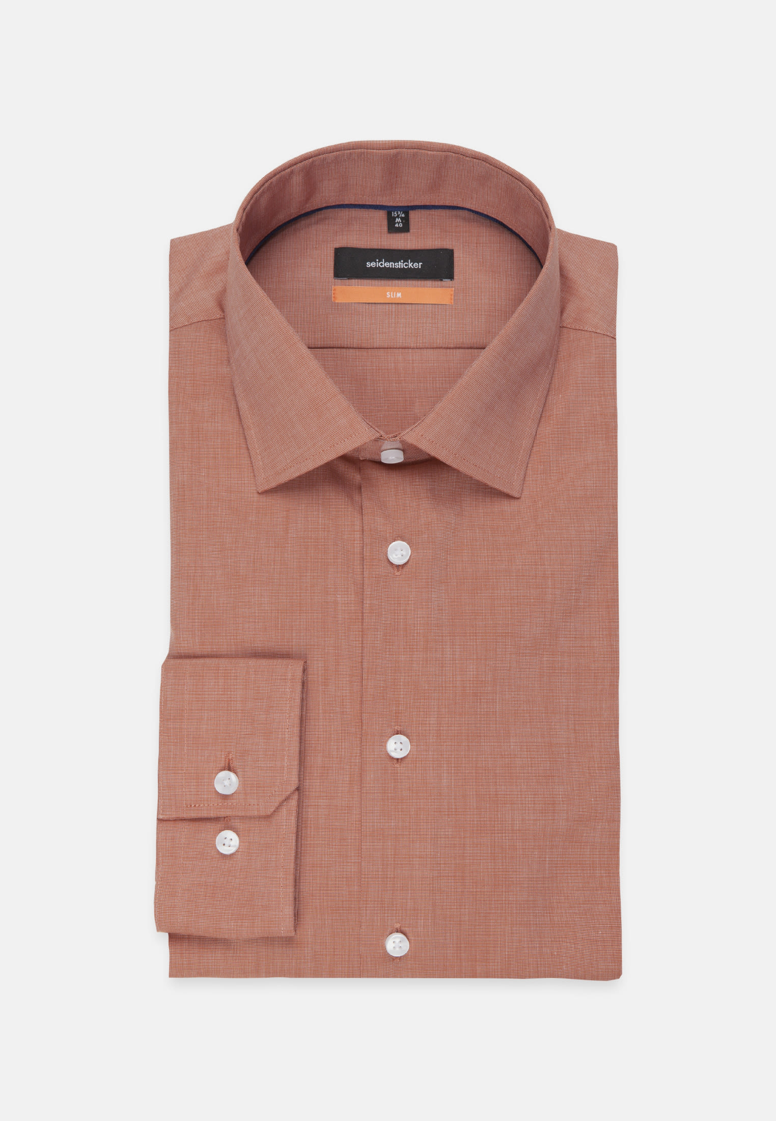 Non-iron Fil a fil Business Shirt in Slim with Kent-Collar in Orange |  Seidensticker Onlineshop