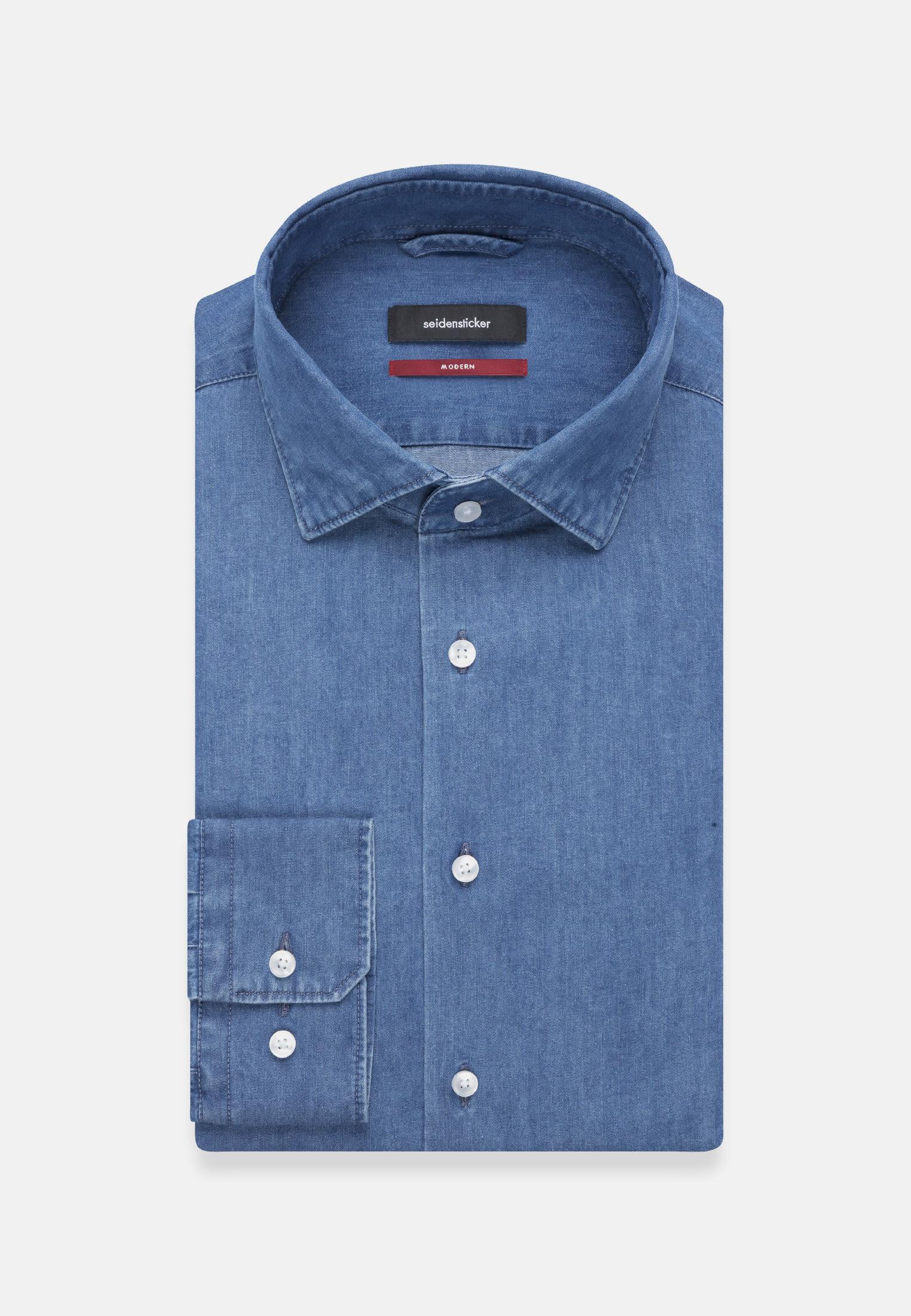 Easy-iron Denim Business Shirt in Modern with Kent-Collar in Medium blue |  Seidensticker Onlineshop