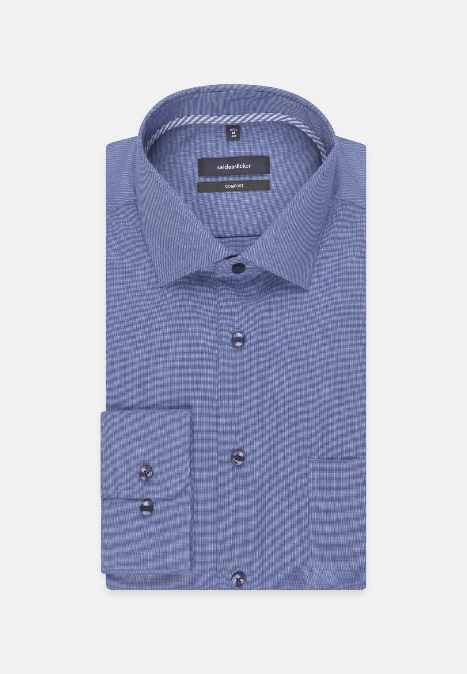 Non-iron Fil a fil Business Shirt in Comfort with Kent-Collar in Medium blue |  Seidensticker Onlineshop