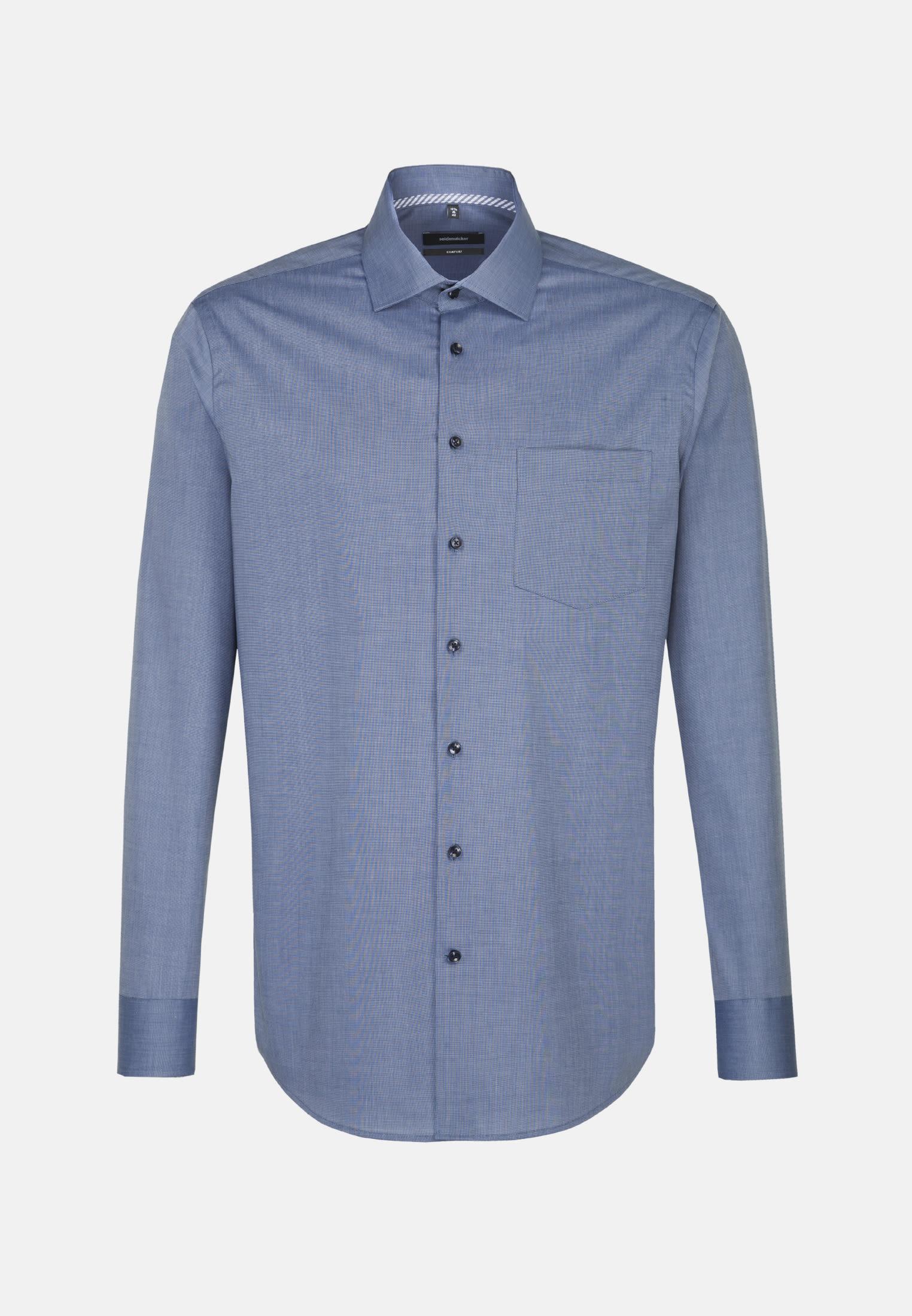 Non-iron Fil a fil Business Shirt in Comfort with Kent-Collar in Medium blue    Seidensticker Onlineshop