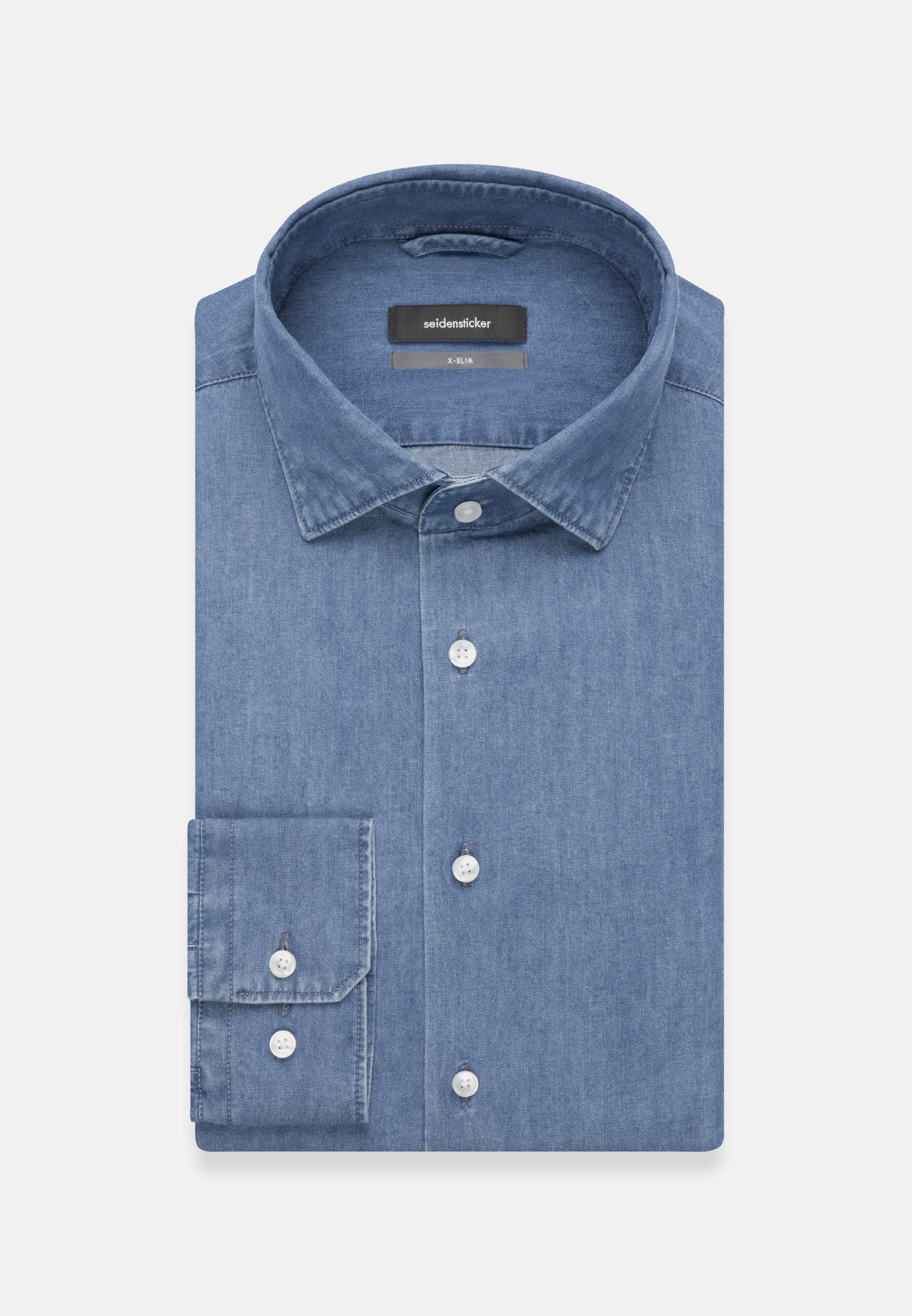 Easy-iron Denim Business Shirt in X-Slim with Kent-Collar in blau |  Seidensticker Onlineshop