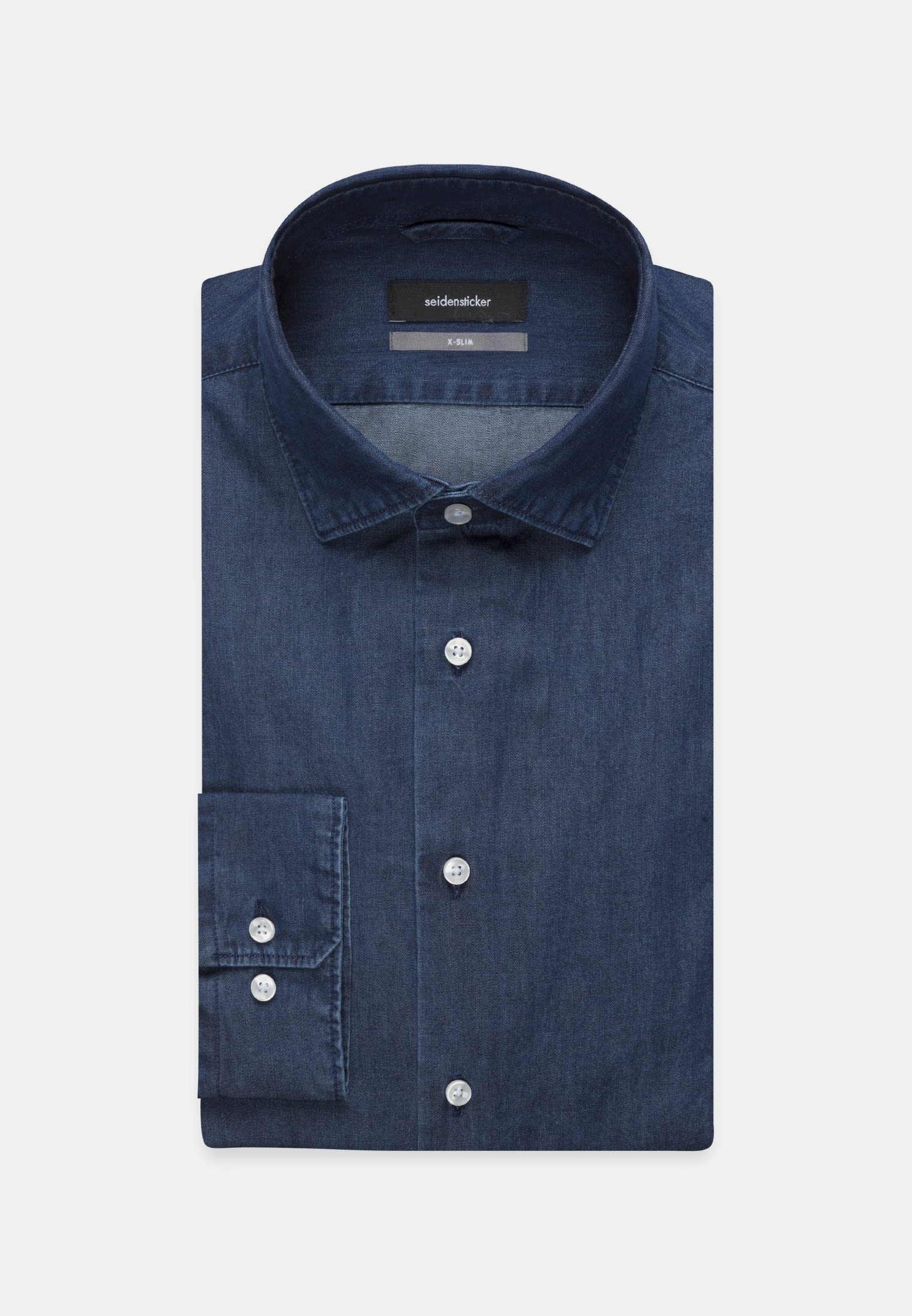 Easy-iron Denim Business Shirt in X-Slim with Kent-Collar in Dark blue |  Seidensticker Onlineshop