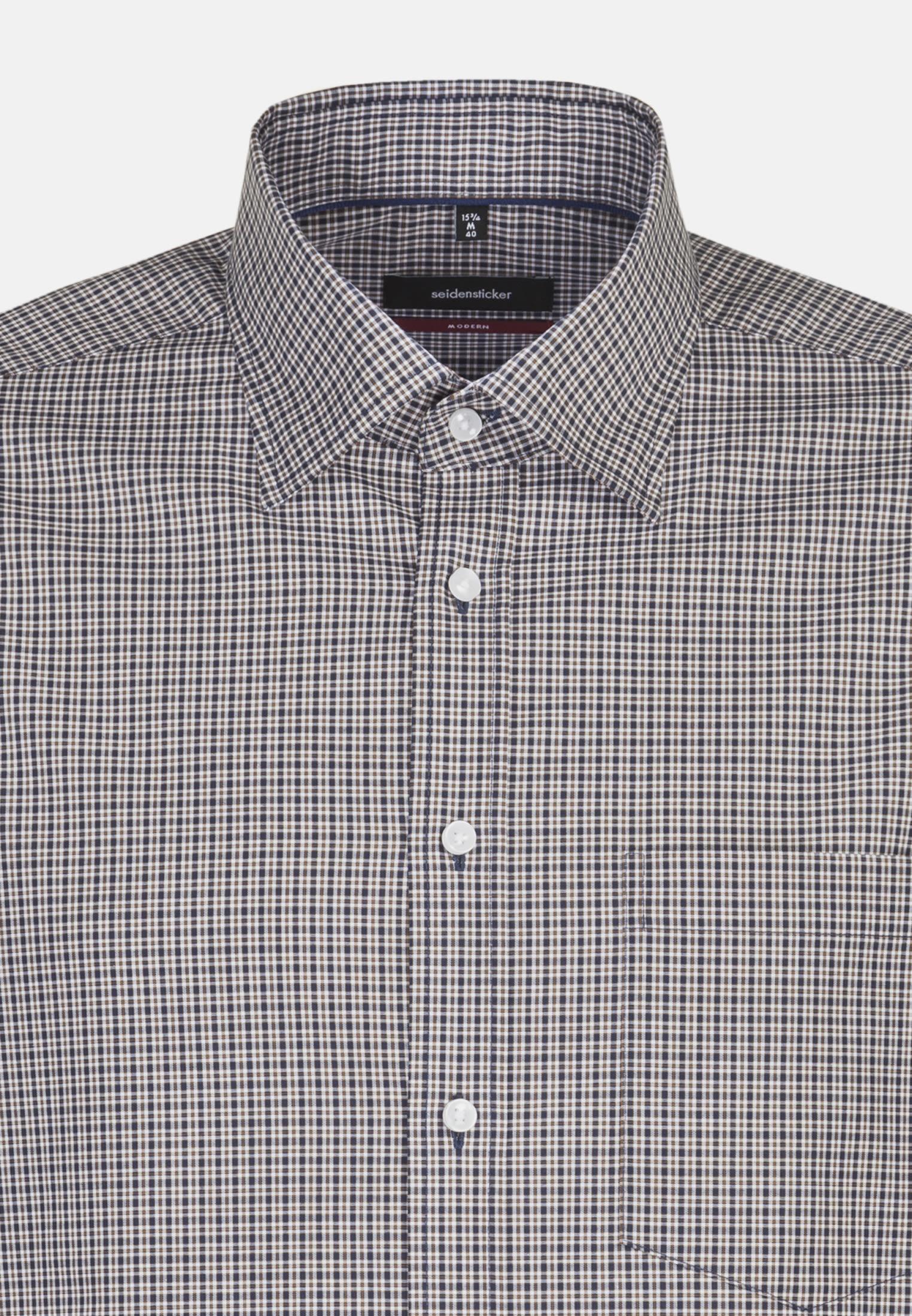 Bügelfreies Popeline Business Hemd in Regular mit Covered-Button-Down-Kragen in Braun |  Seidensticker Onlineshop