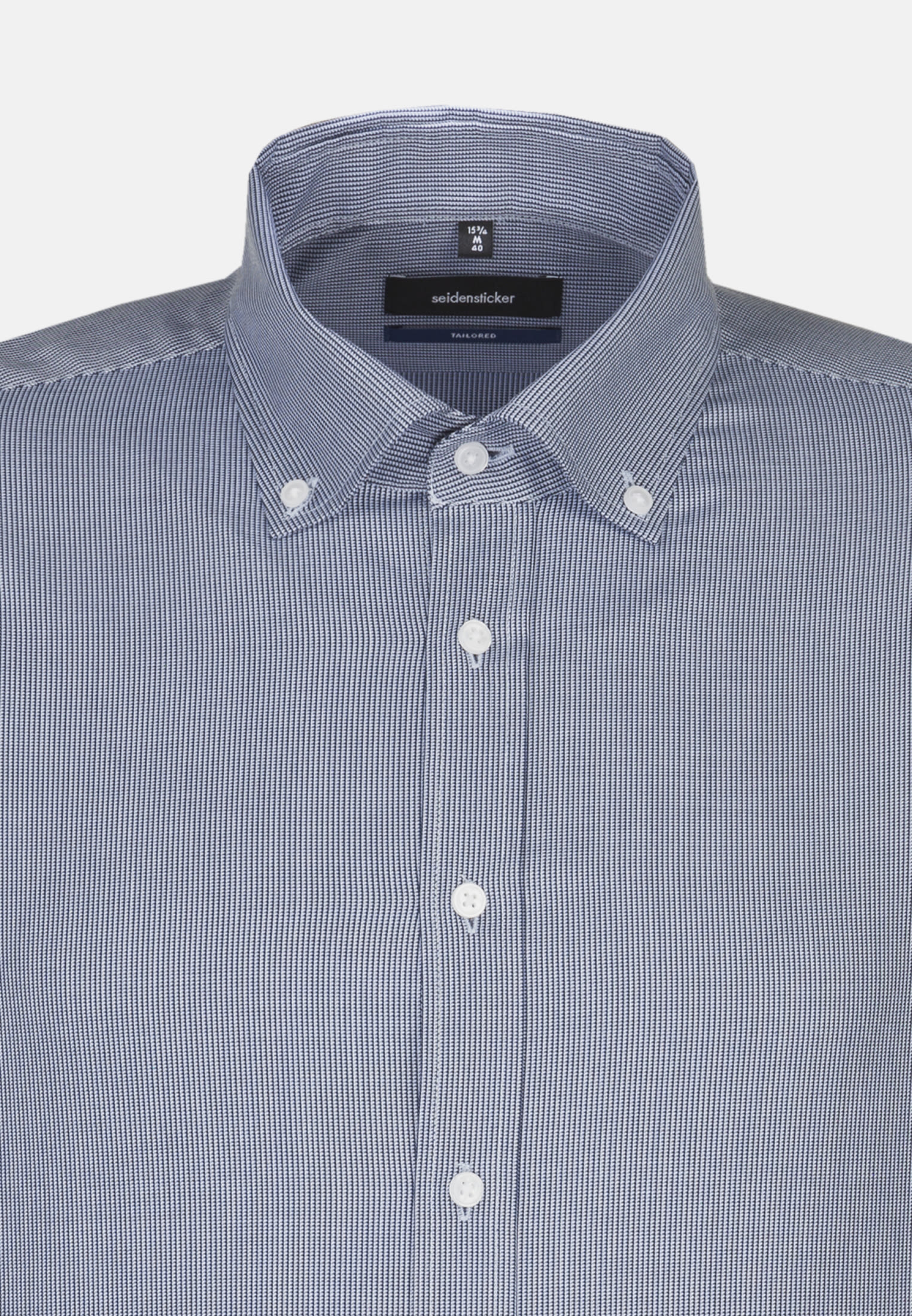 Easy-iron Structure Business Shirt in Shaped with Button-Down-Collar in Medium blue |  Seidensticker Onlineshop