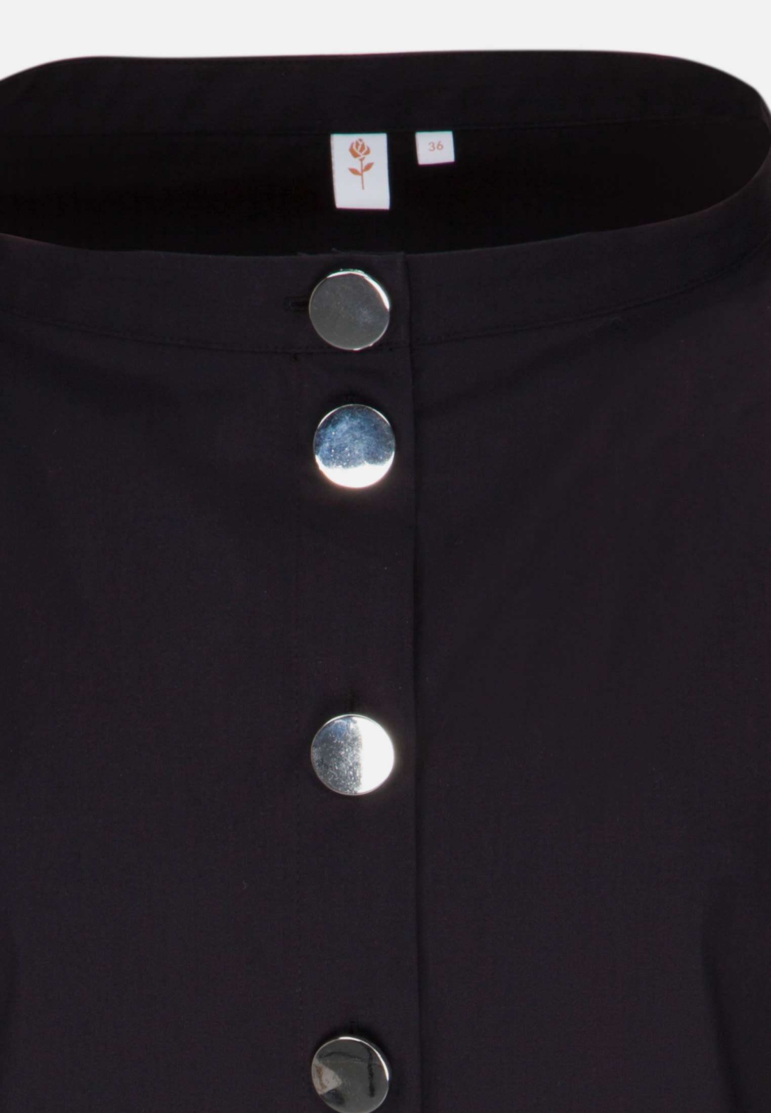 3/4 sleeve Poplin Stand-Up Blouse made of cotton blend in Black |  Seidensticker Onlineshop