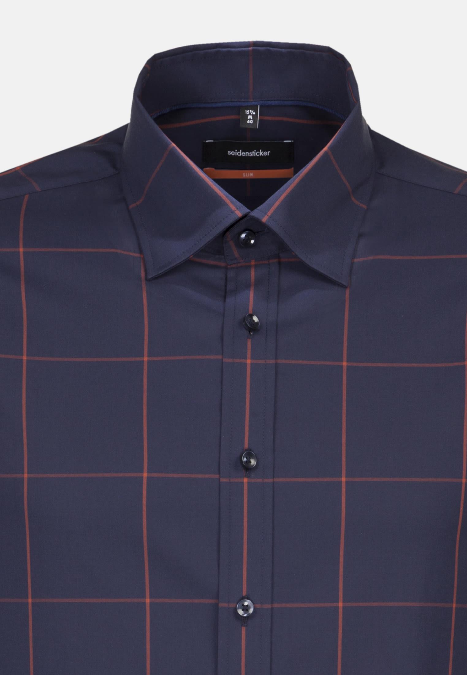 Non-iron Poplin Business Shirt in Slim with Covered-Button-Down-Collar in Dark blue |  Seidensticker Onlineshop