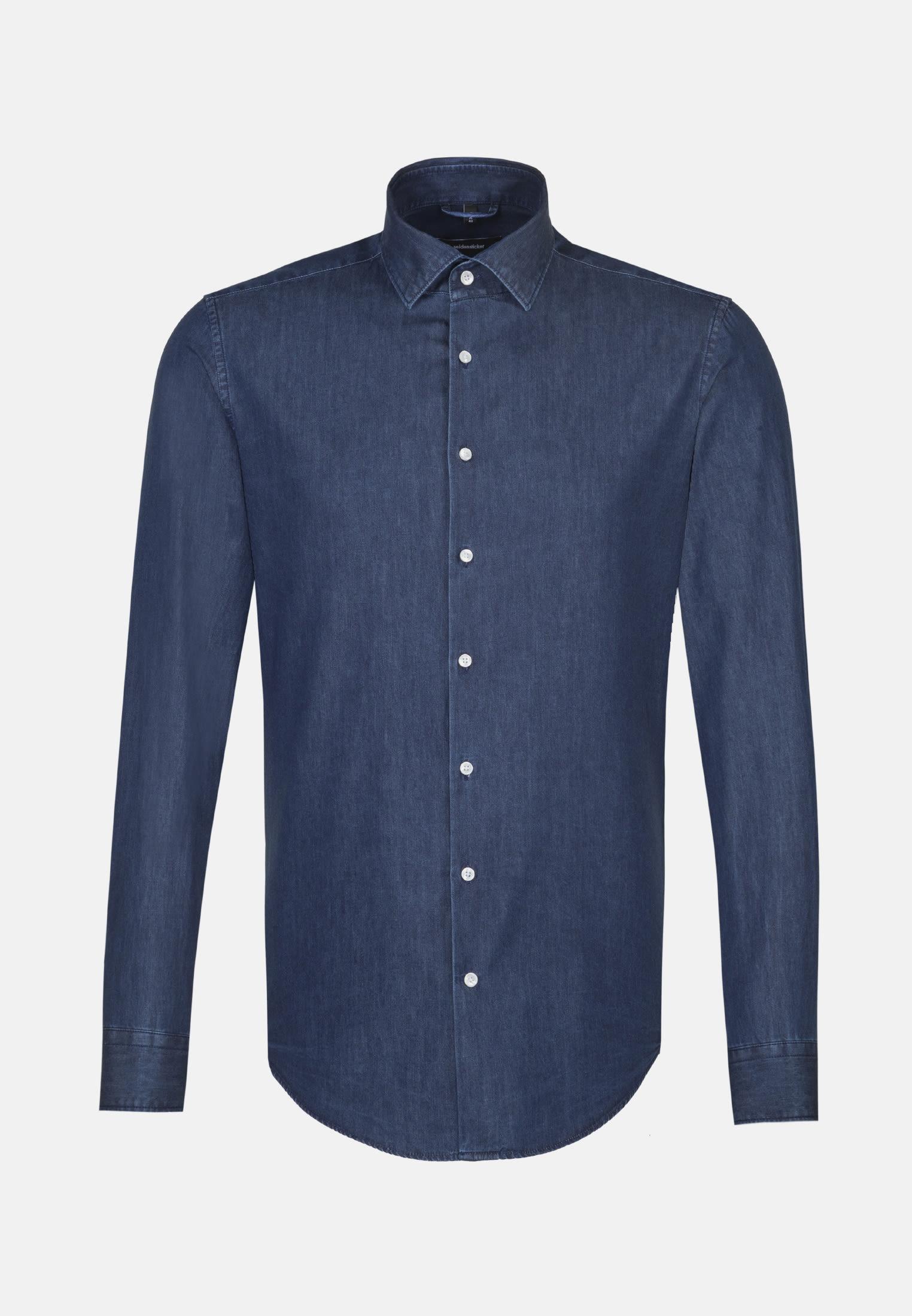 Easy-iron Denim Business Shirt in Comfort with Kent-Collar in Dark blue    Seidensticker Onlineshop
