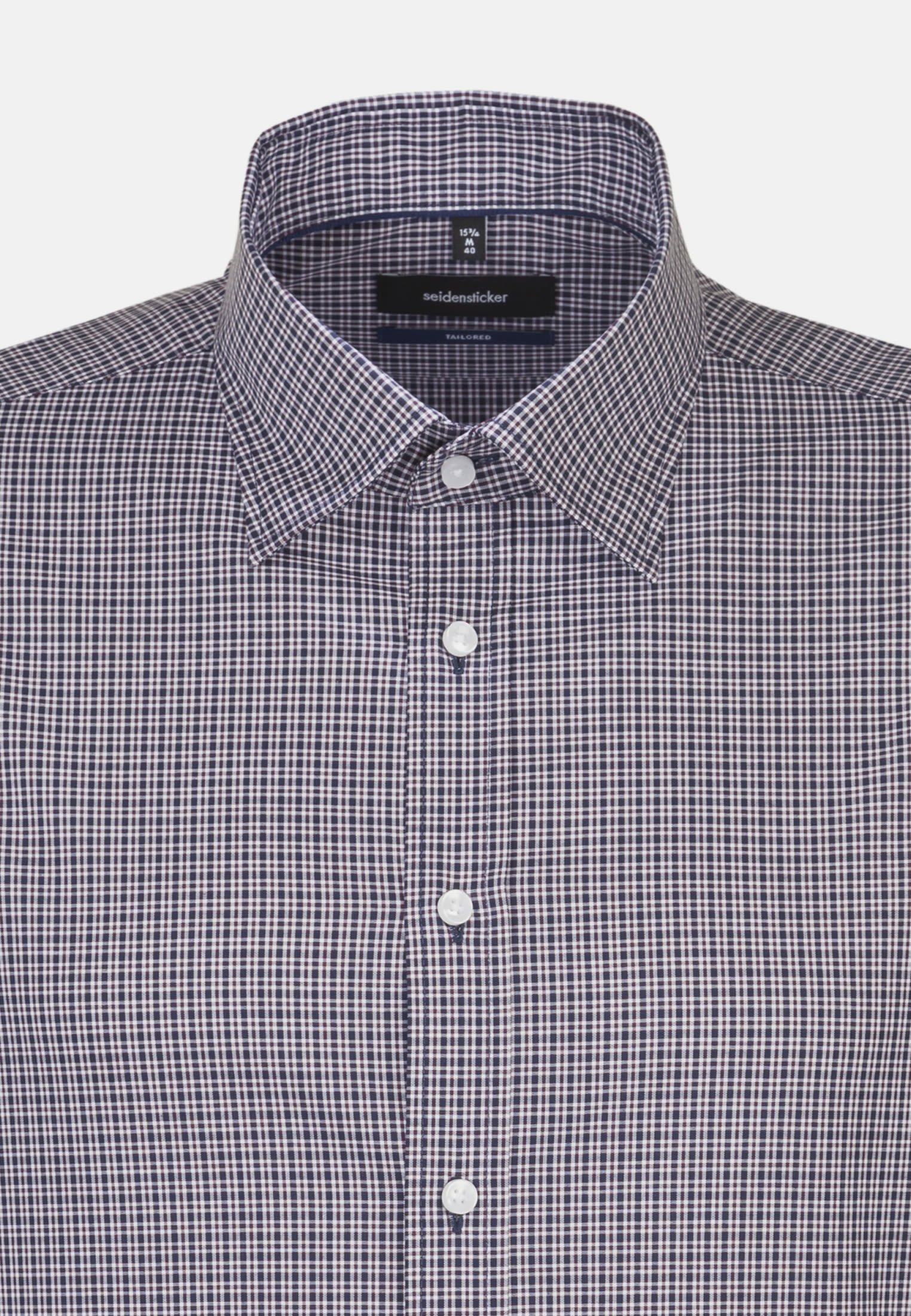 Non-iron Poplin Business Shirt in Tailored with Covered-Button-Down-Collar in blau |  Seidensticker Onlineshop