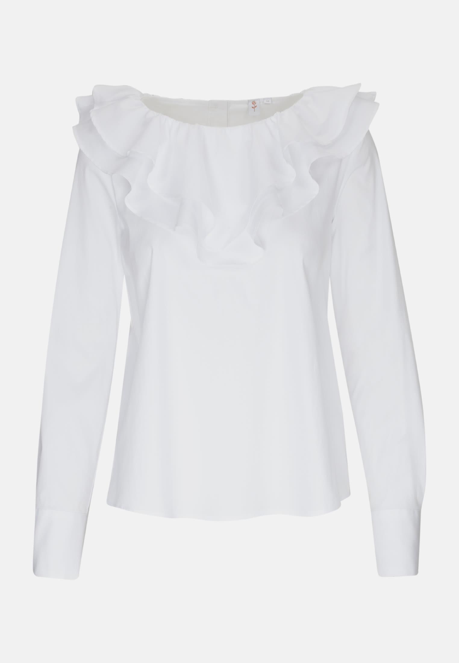Popeline Rüschenbluse aus Baumwollmischung in Weiß |  Seidensticker Onlineshop