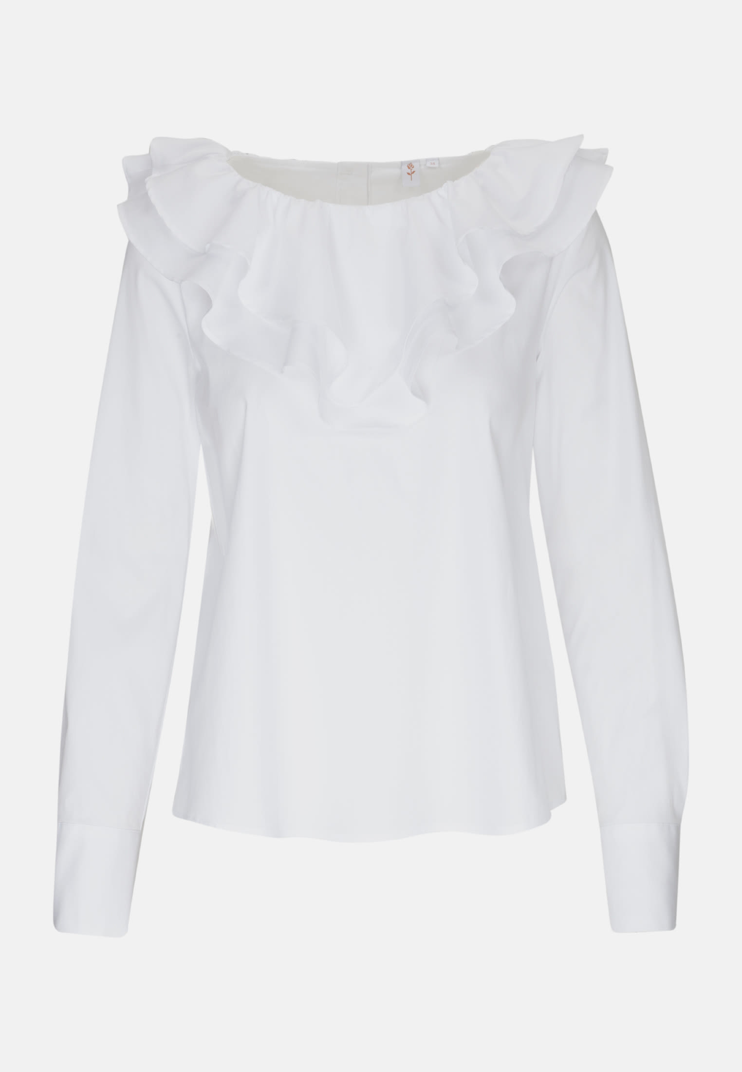 Poplin Ruched Blouse made of cotton blend in White |  Seidensticker Onlineshop
