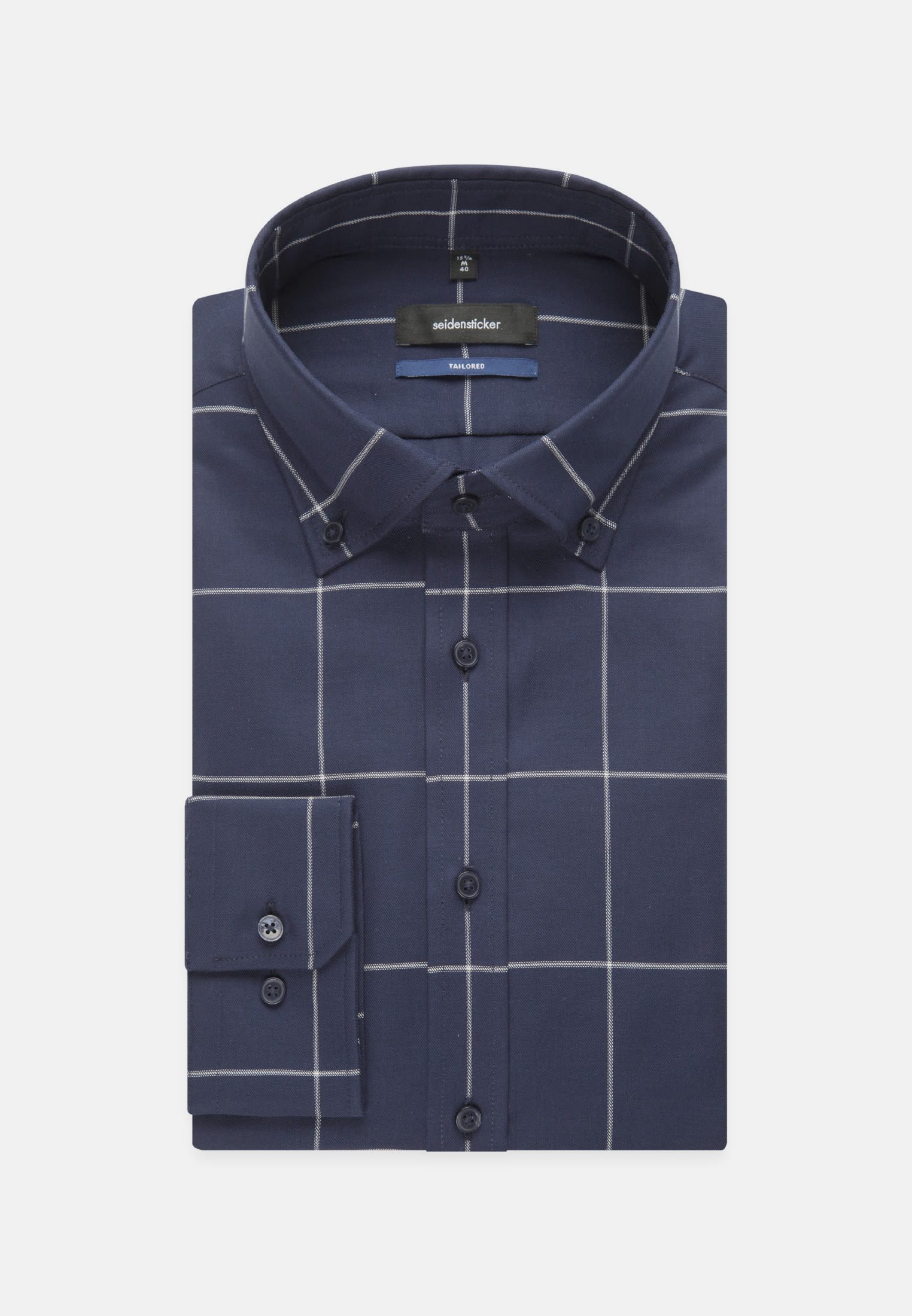 Bügelleichtes Twill Business Hemd in Shaped mit Button-Down-Kragen in Dunkelblau |  Seidensticker Onlineshop