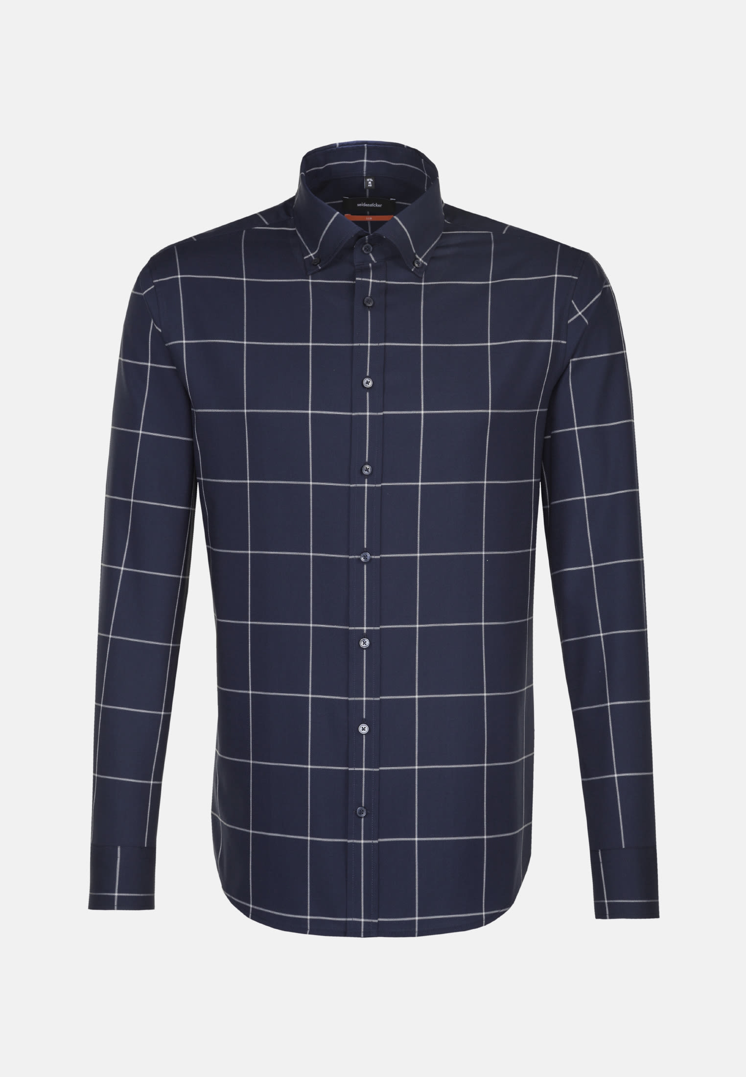 Bügelleichtes Twill Business Hemd in Slim mit Button-Down-Kragen in Dunkelblau |  Seidensticker Onlineshop