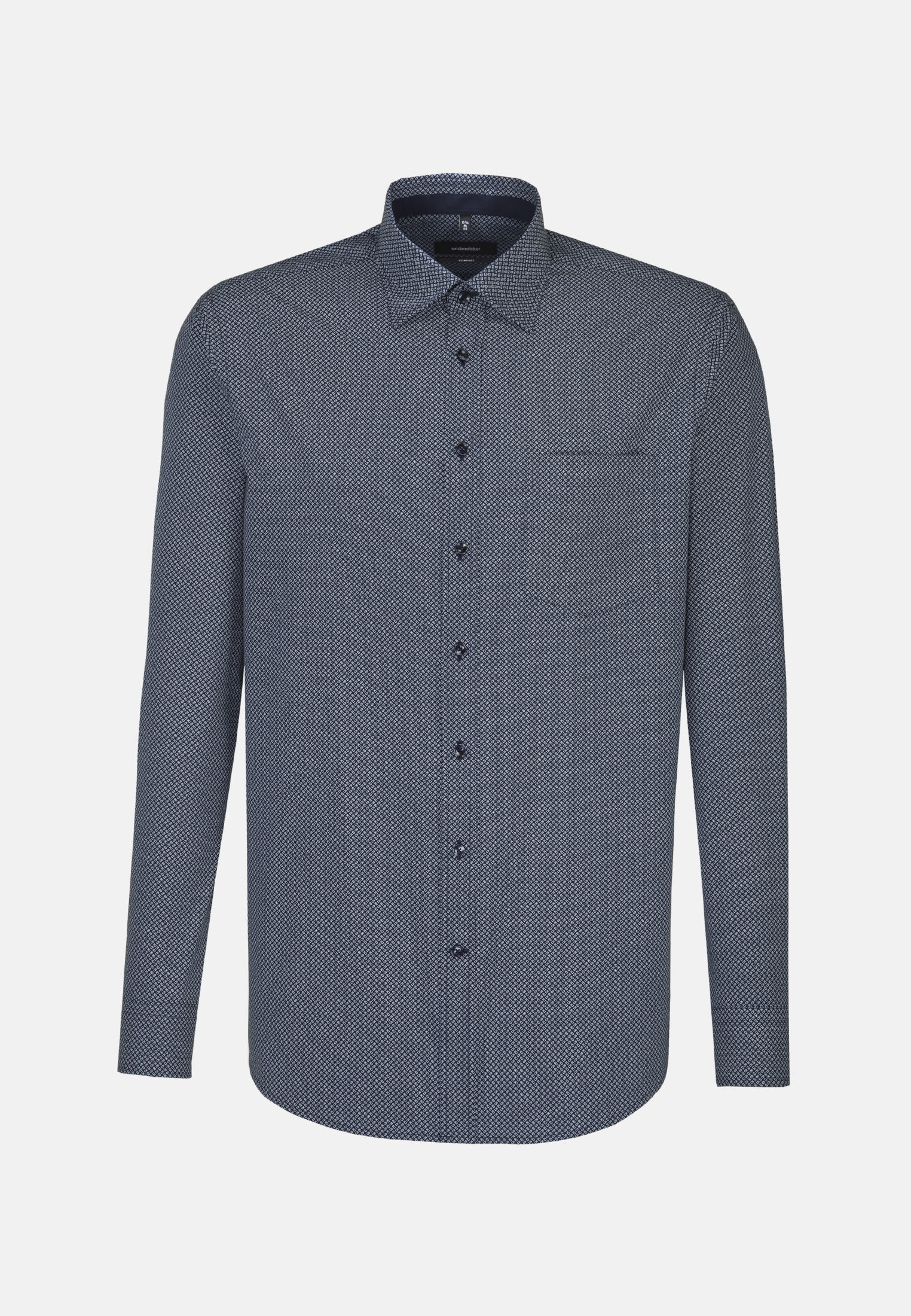 Bügelleichtes Popeline Business Hemd in Comfort mit Covered-Button-Down-Kragen in Mittelblau |  Seidensticker Onlineshop