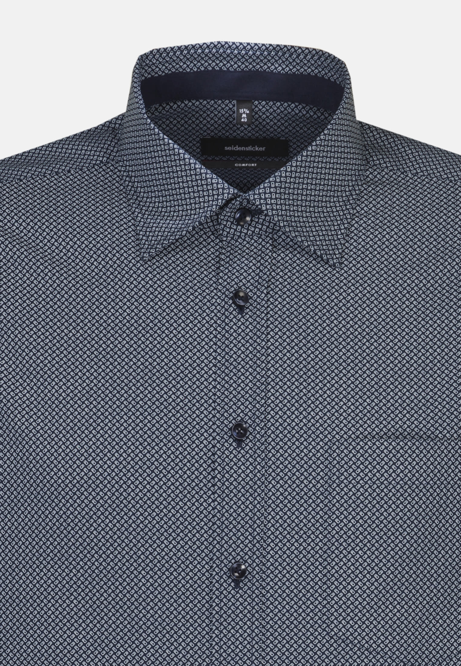 Easy-iron Poplin Business Shirt in Comfort with Covered-Button-Down-Collar in blau |  Seidensticker Onlineshop