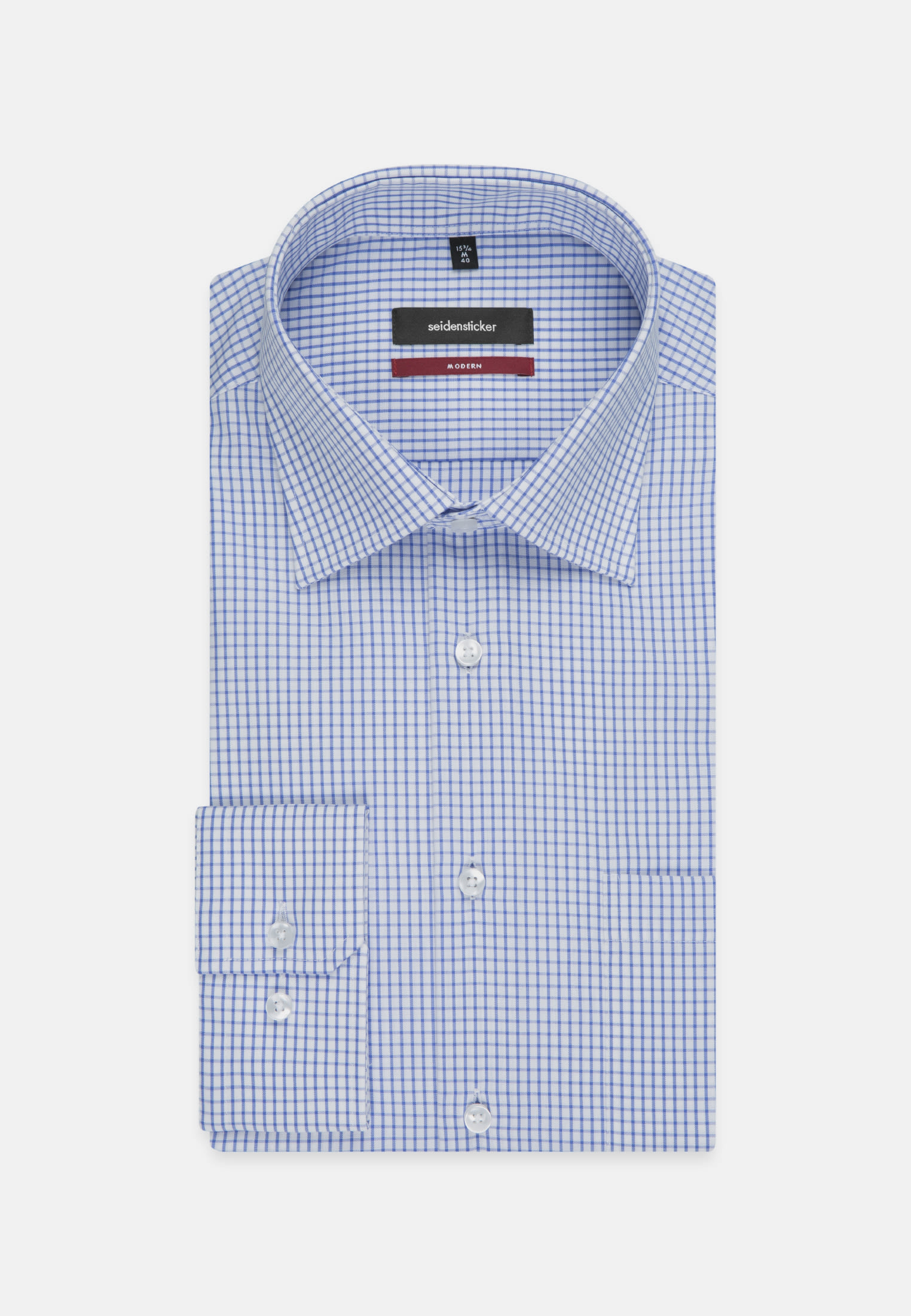 Non-iron Poplin Business Shirt in Modern with Kent-Collar in Mittelblau |  Seidensticker Onlineshop