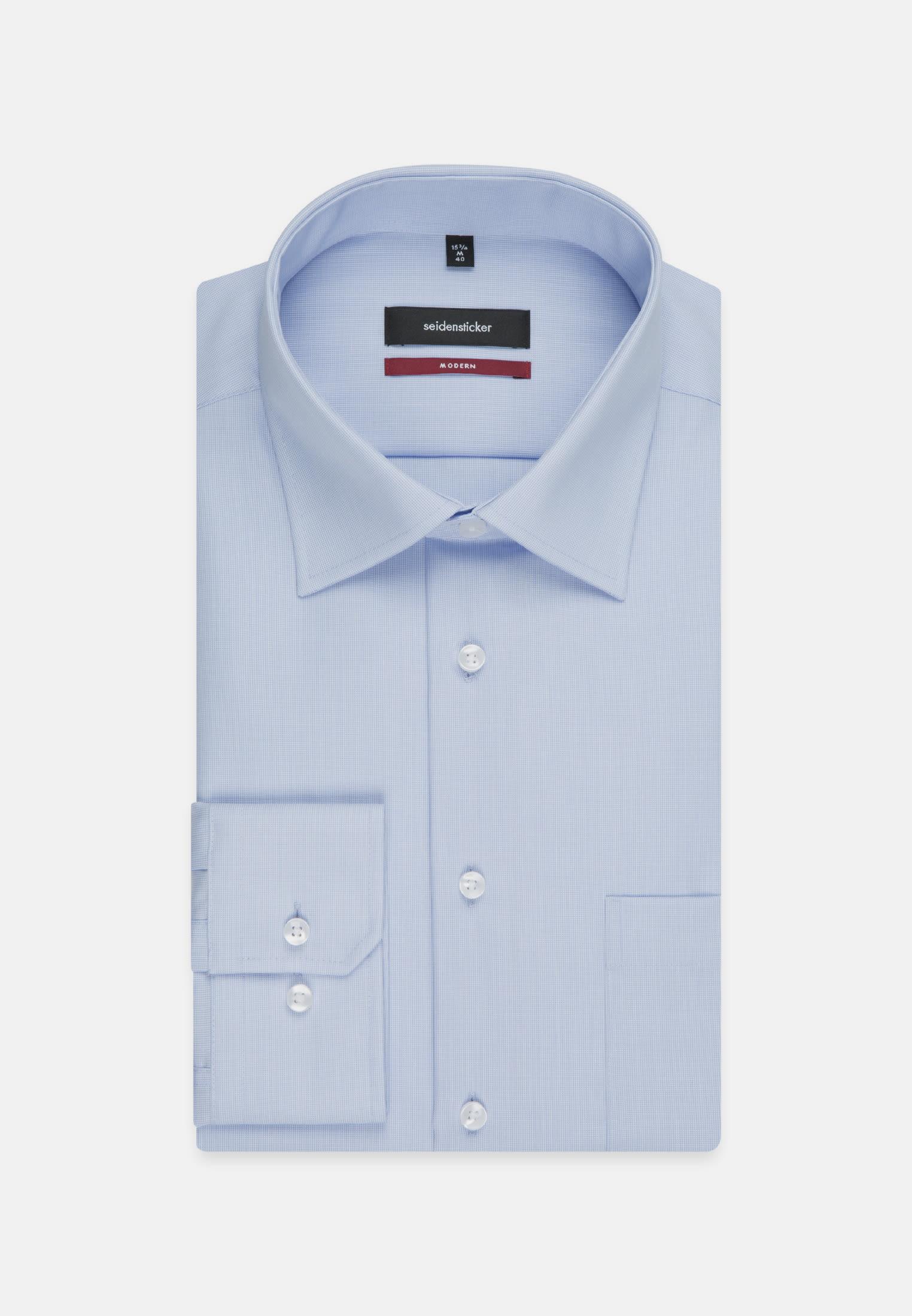 Non-iron Poplin Business Shirt in Modern with Kent-Collar in hellblau    Seidensticker Onlineshop