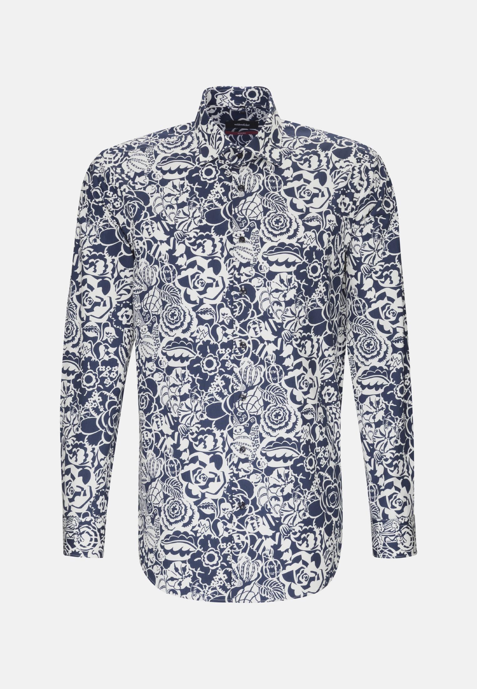 Easy-iron Poplin Business Shirt in Modern with Kent-Collar in Medium blue    Seidensticker Onlineshop
