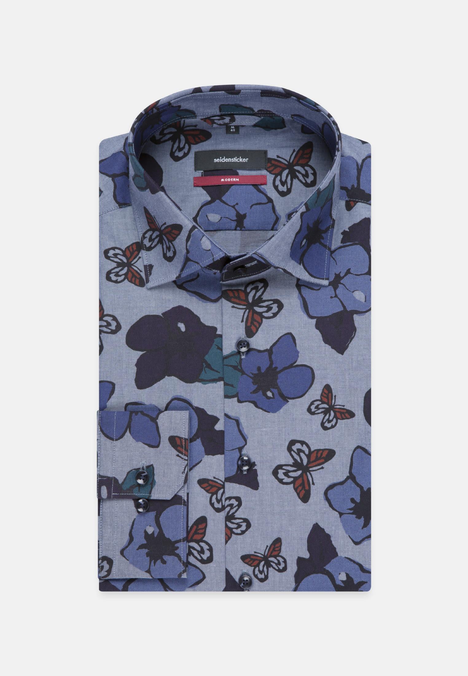 Bügelleichtes Popeline Business Hemd in Regular mit Kentkragen in Dunkelblau    Seidensticker Onlineshop