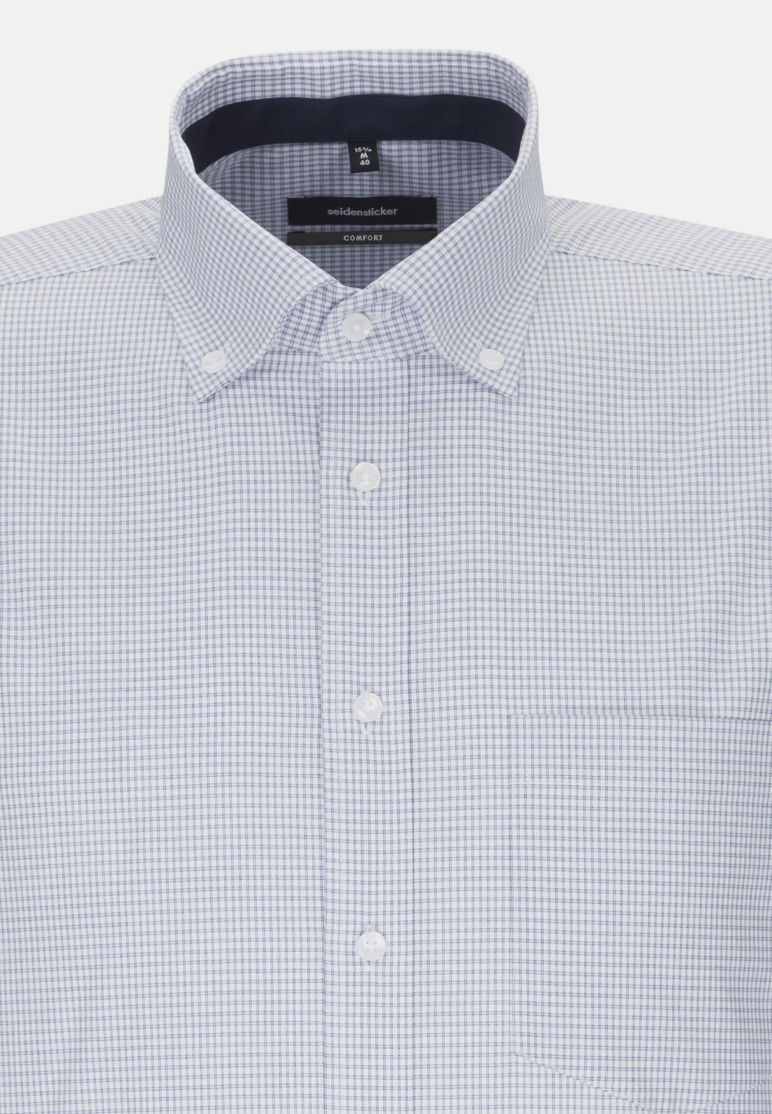Non-iron Poplin Business Shirt in Comfort with Button-Down-Collar in Light blue |  Seidensticker Onlineshop
