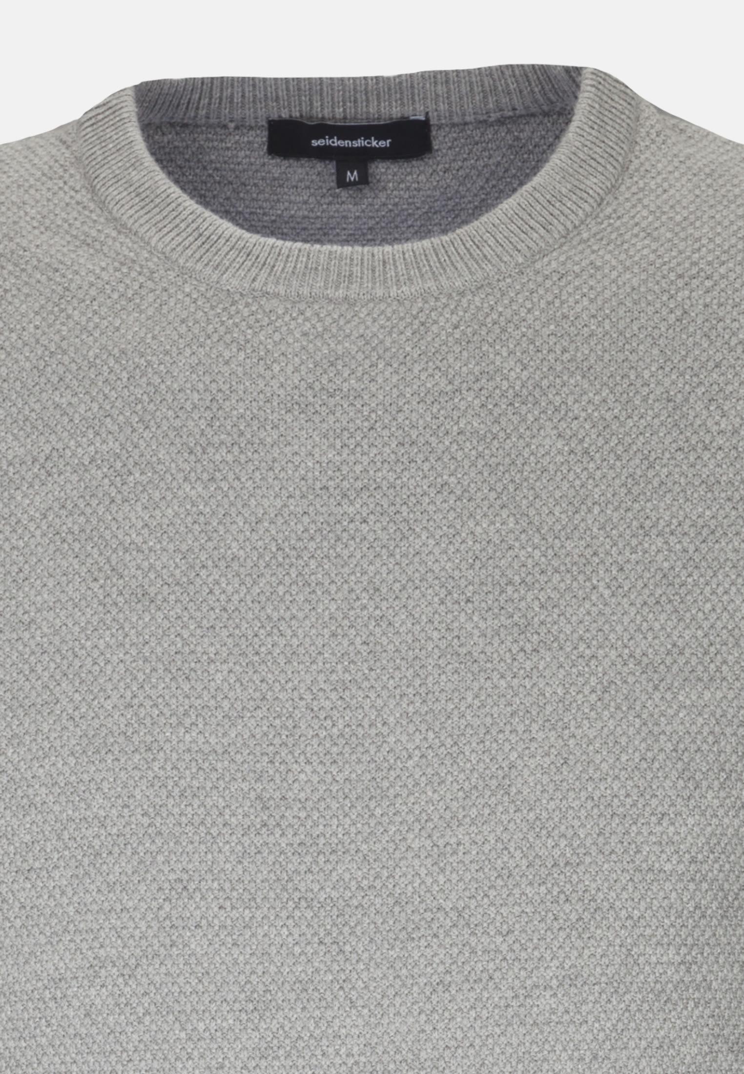 Rundhals Pullover aus Baumwollmischung in Grau |  Seidensticker Onlineshop
