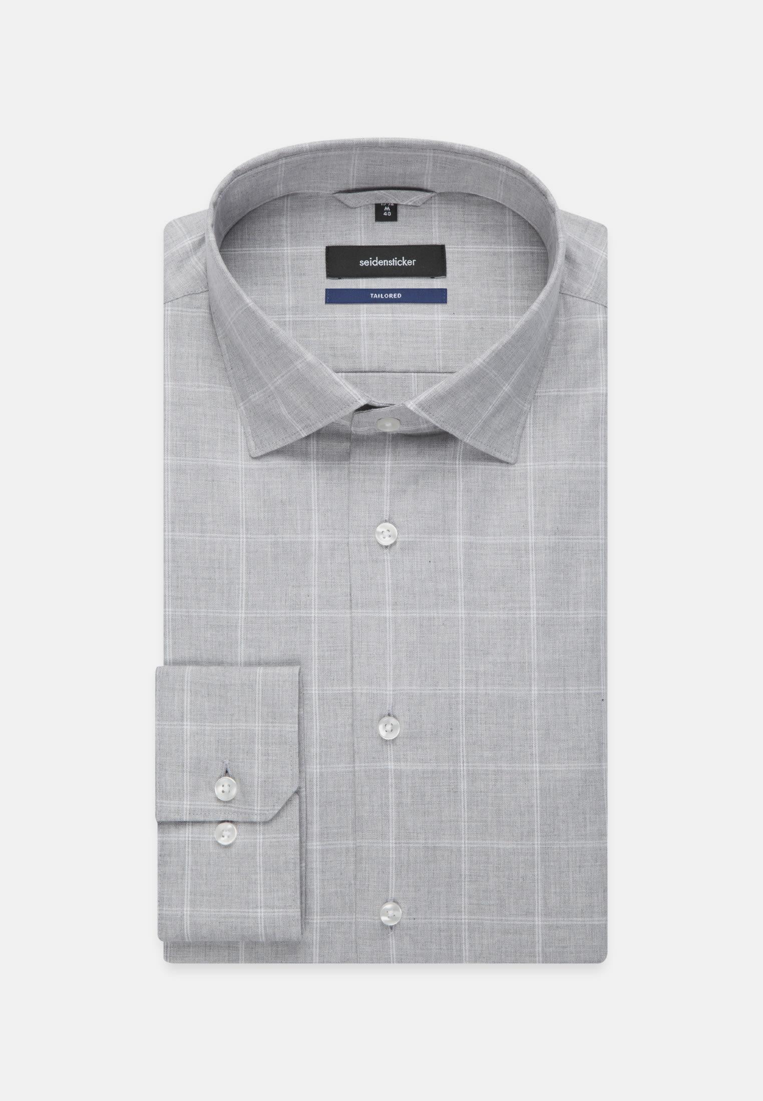 Bügelleichtes Melange Garne Business Hemd in Shaped mit Kentkragen in Grau |  Seidensticker Onlineshop